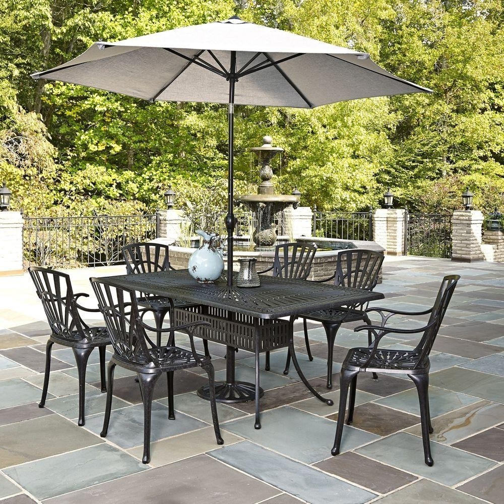 Home Styles Largo 7 Piece Outdoor Patio Dining Set With Umbrella Regarding Most Up To Date Patio Table Sets With Umbrellas (Gallery 1 of 20)