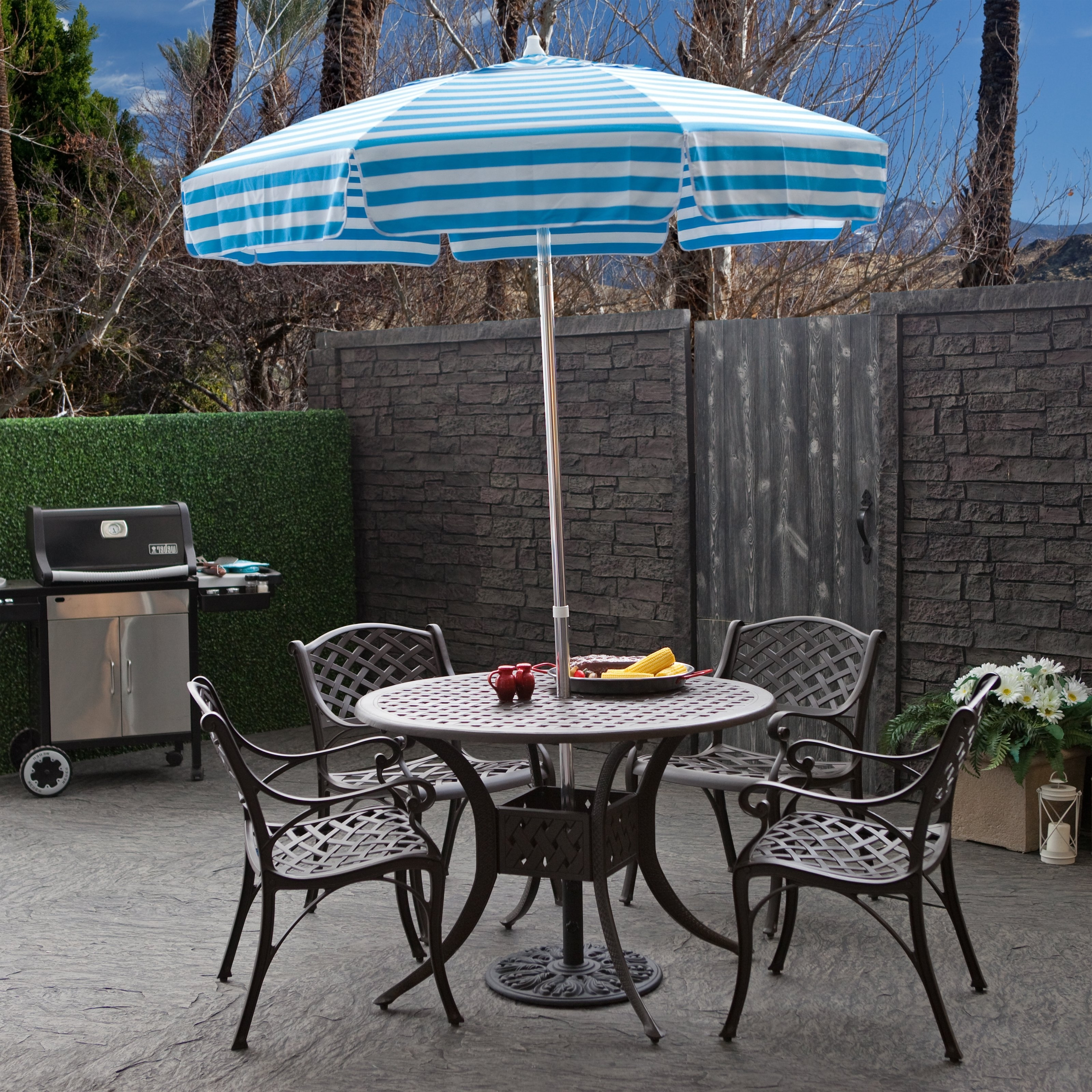 Incredible Patio Table Umbrellas Destinationgear 6 Ft Aluminum Within Most Recent Small Patio Tables With Umbrellas Hole (Gallery 2 of 20)