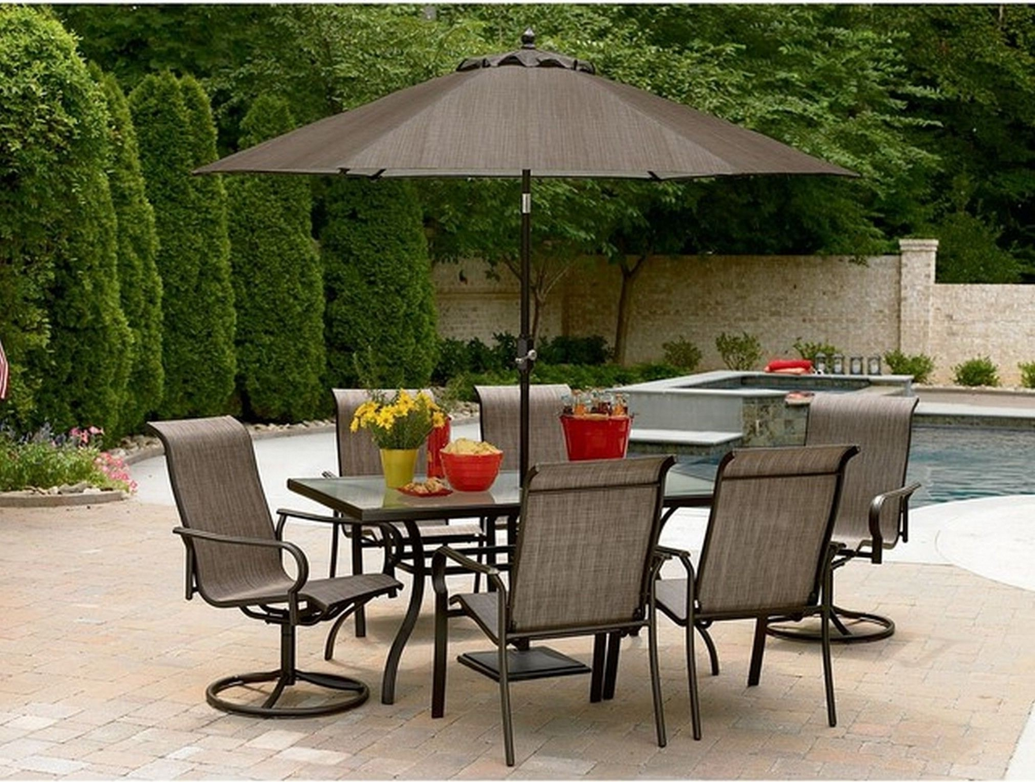 Interior : Patio Furniture Sale Stylish Outdoor Table Sets Lovely Intended For Trendy Patio Table Sets With Umbrellas (Gallery 18 of 20)