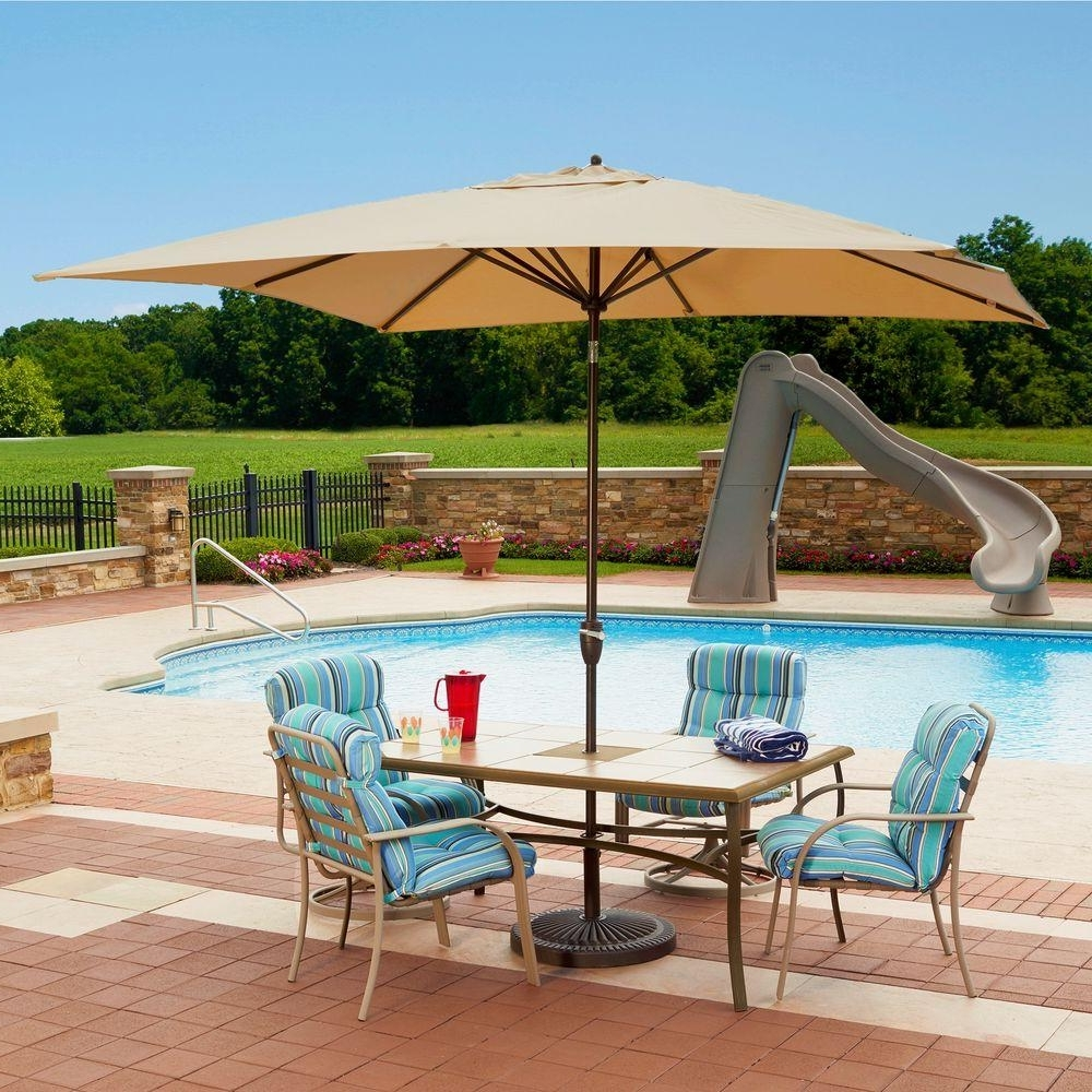Island Umbrella Caspian 8 Ft. X 10 Ft. Rectangular Market Push Throughout Current Sunbrella Outdoor Patio Umbrellas (Gallery 13 of 20)