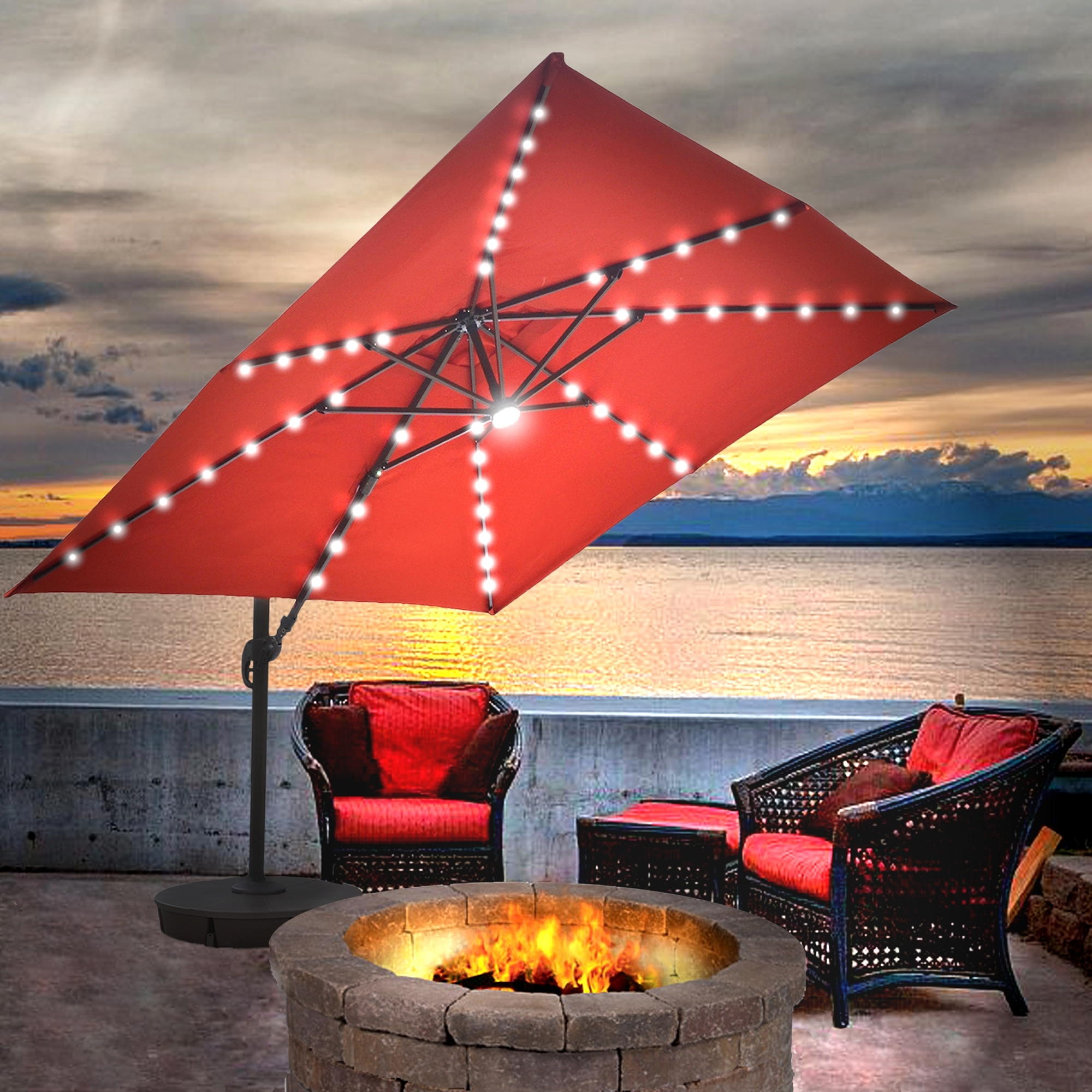 Island Umbrella Santorini Ii Fiesta 10 Ft Square Cantilever Solar Within Most Popular Solar Patio Umbrellas (Gallery 18 of 20)