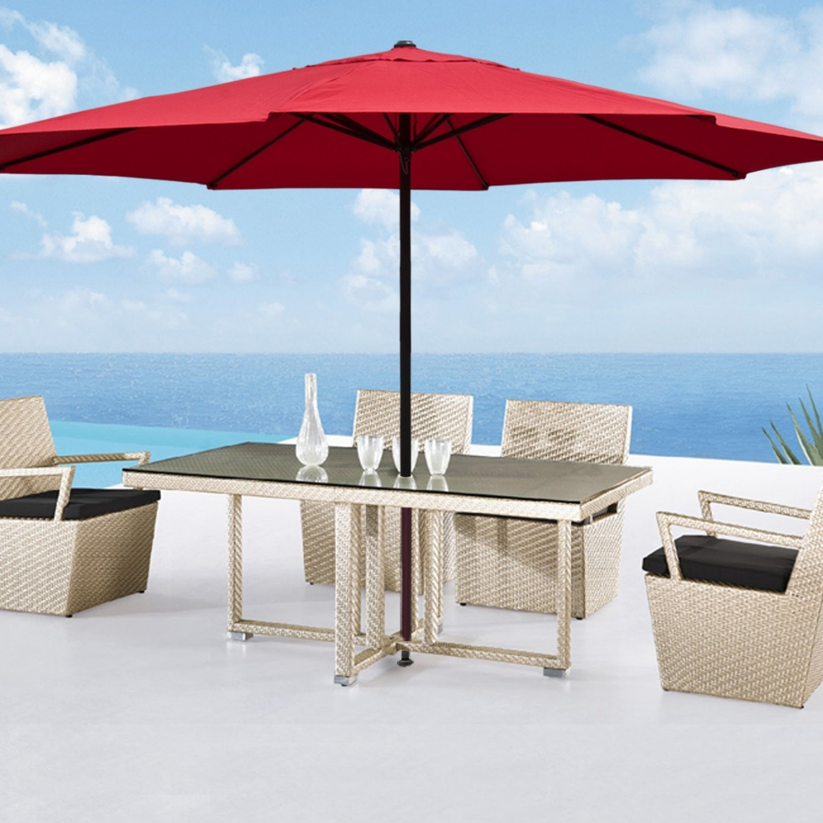 Large Patio Umbrellas With Regard To Preferred Red Large Patio Umbrellas — Wilson Home Ideas : Stylish Large Patio (View 5 of 20)