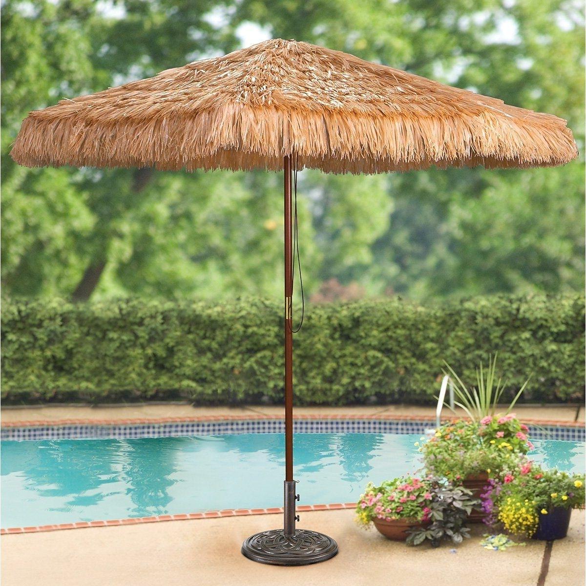 Latest Amazon Patio Umbrellas With Amazon : Castlecreek 9 Foot Thatched Tiki Umbrella : Patio (View 13 of 20)