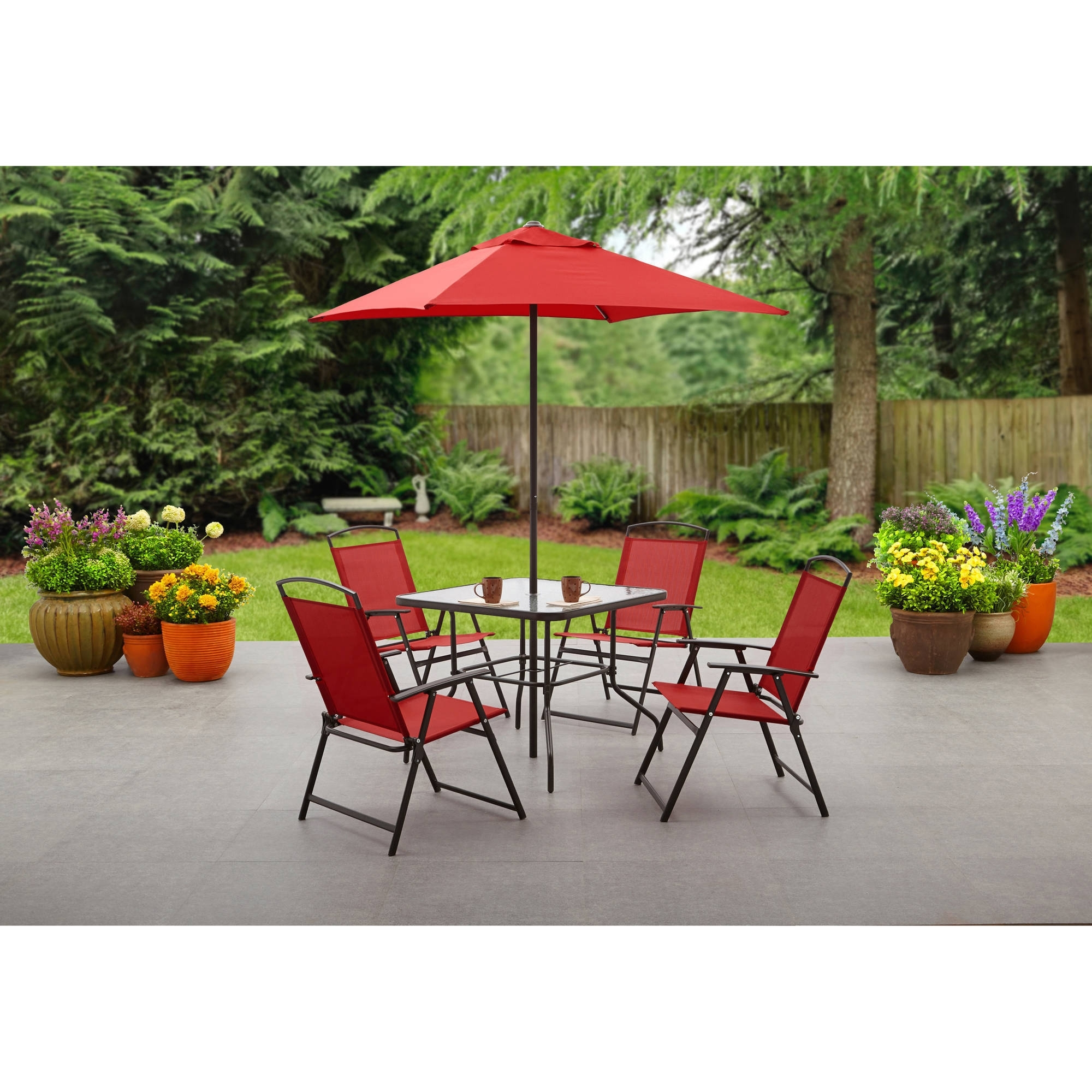 Latest Small Patio Tables With Umbrellas Within Mainstays Albany Lane 6 Piece Folding Dining Set, Multiple Colors (View 10 of 20)