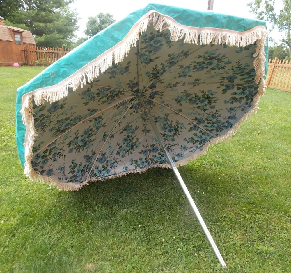 Latest Vintage Midcentury 7ft Finkel Floral Fringe Turquoise Patio Umbrella Throughout Patio Umbrellas With Fringe (View 2 of 20)