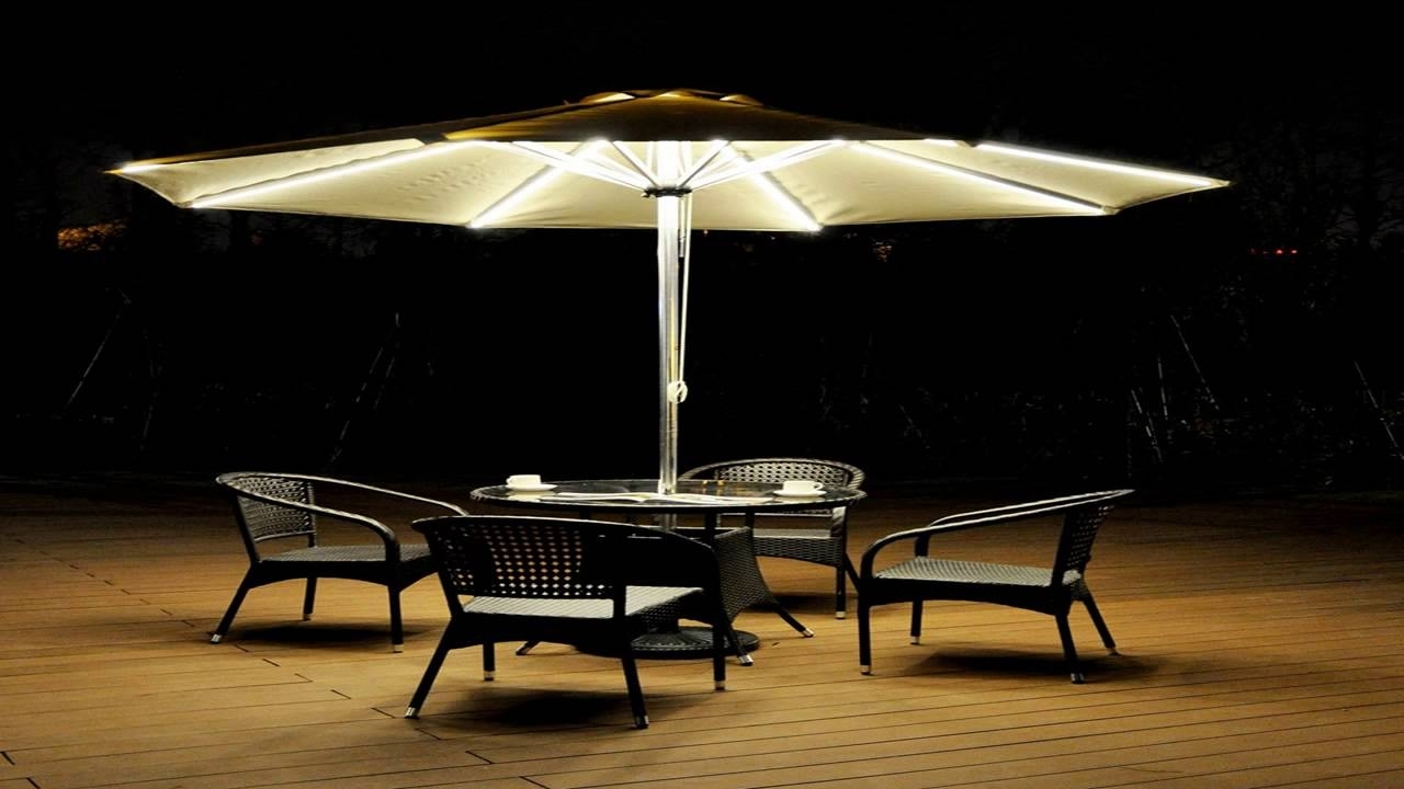 Led Patio Umbrellas Pertaining To Widely Used Strong Camel 9 Cantilever Solar 40 Led Light Patio Umbrella Outdoor (View 8 of 20)
