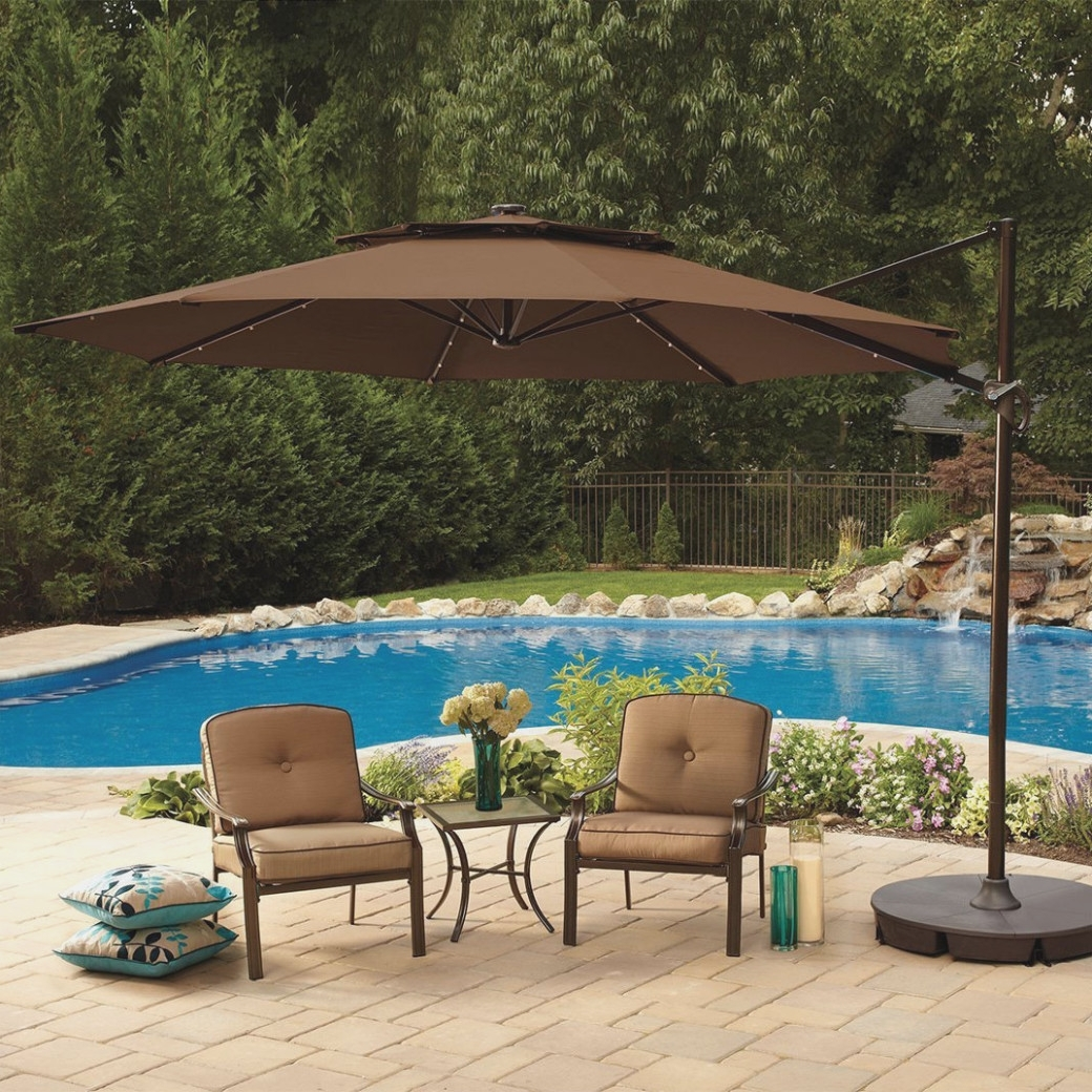 Lighted Patio Umbrellas In Most Popular Large Patio Umbrellas In Square Shape – Carehomedecor – Lighted (View 17 of 20)