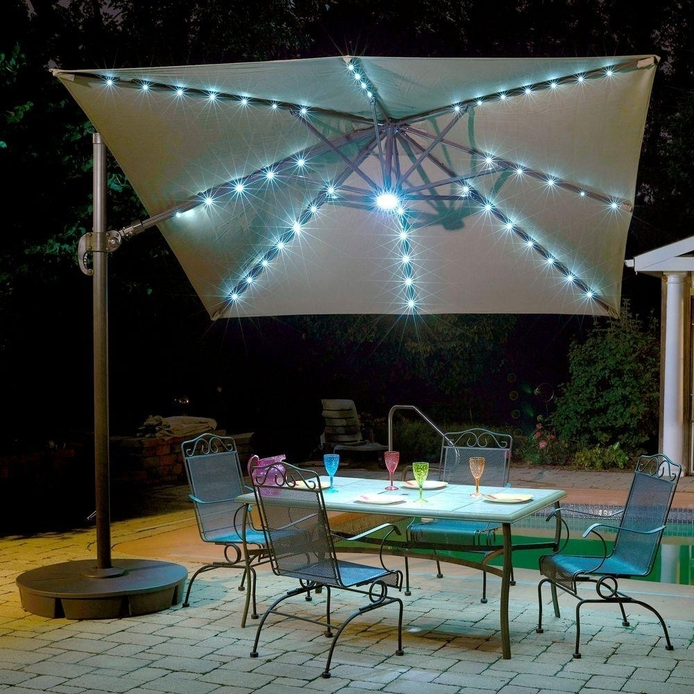 Lighted Patio Umbrellas Intended For Preferred Blue Led Lighted Patio Umbrella — Cdbossington Interior Design : Led (View 11 of 20)