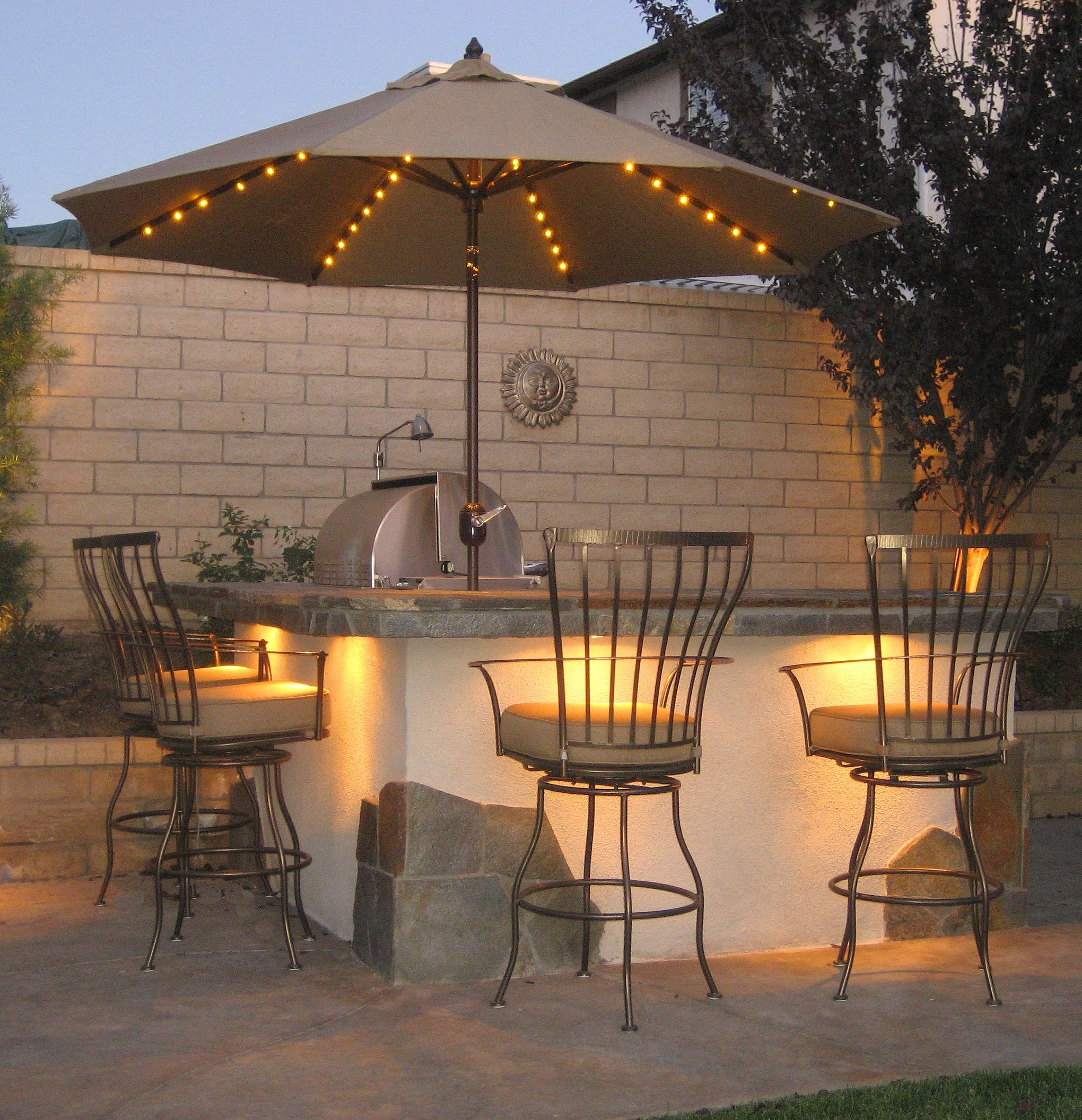 Lighted Patio Umbrellas Intended For Recent Lighted Patio Umbrellas — Mistikcamping Home Design : Different (View 12 of 20)