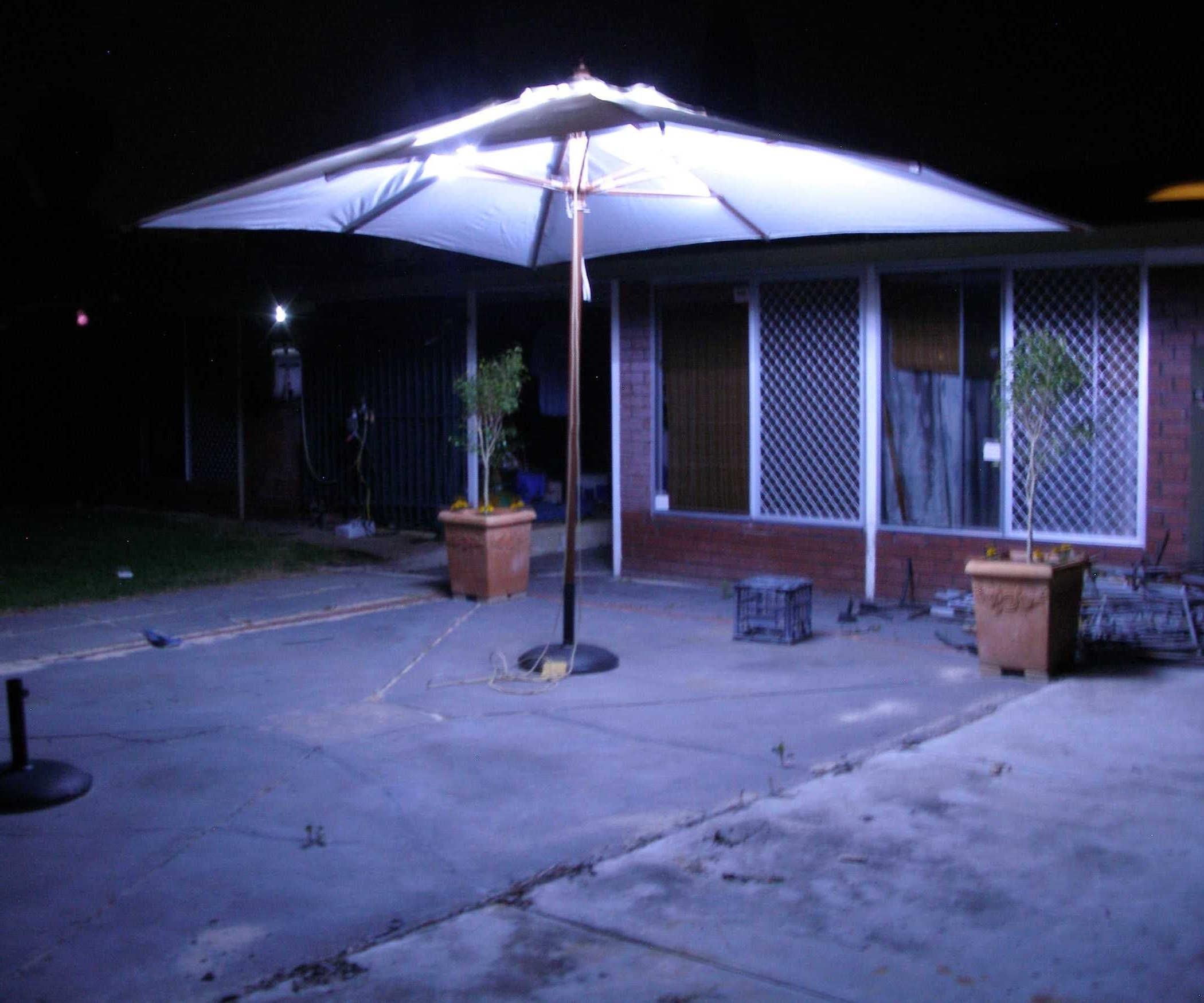 Lighted Umbrellas For Patio With Regard To Most Recent Incredible Lighted Umbrella For Patio Collection Including Outdoor (View 16 of 20)