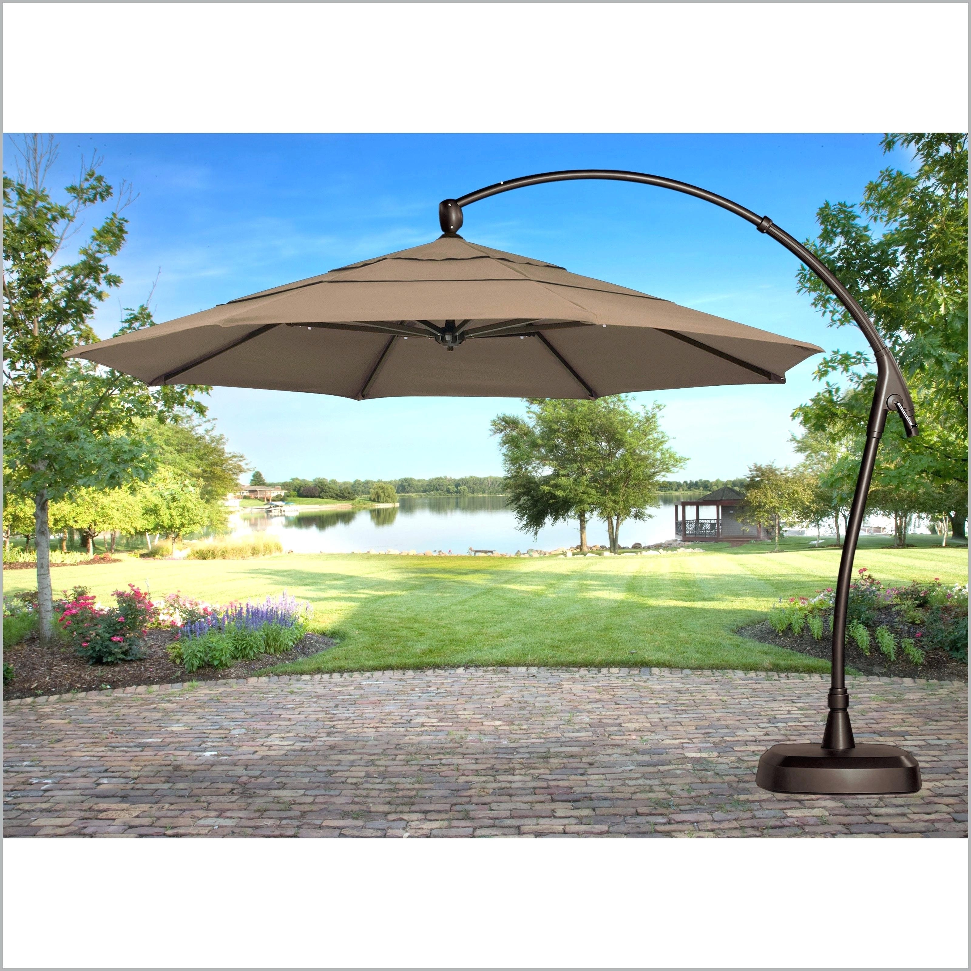 Lowes Cantilever Patio Umbrellas For Best And Newest Lowes Umbrella Base Patio Umbrellas With Lights Table Pics – Mrze (View 11 of 20)