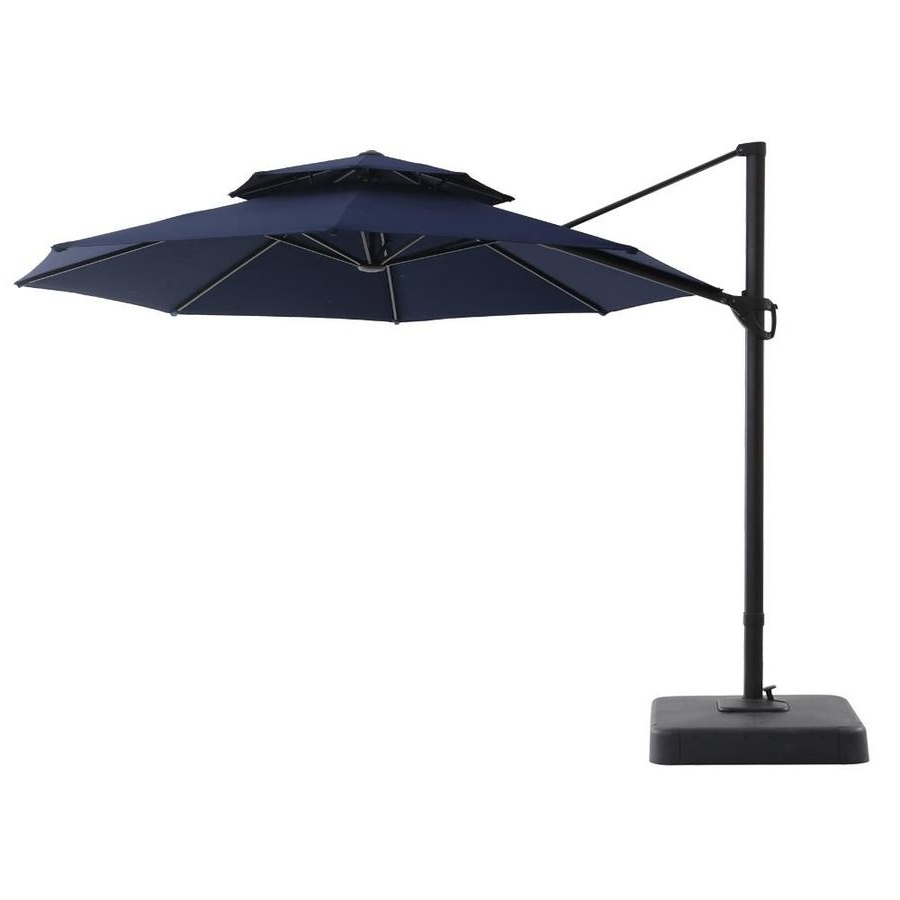 Lowes Cantilever Patio Umbrellas Inside Well Known Shop Royal Garden Navy Offset 11 Ft Patio Umbrella With Base At (View 9 of 20)