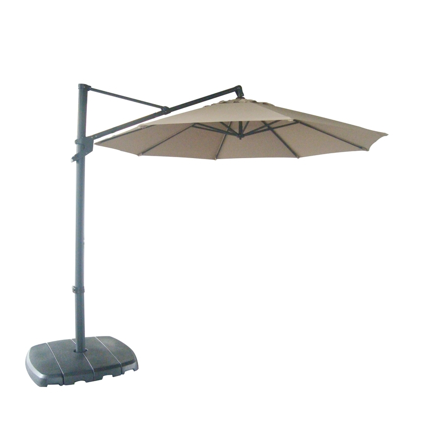 Lowes Offset Patio Umbrellas Inside Popular Shop Allen + Roth Offset Patio Umbrella With Base (common: (View 5 of 20)