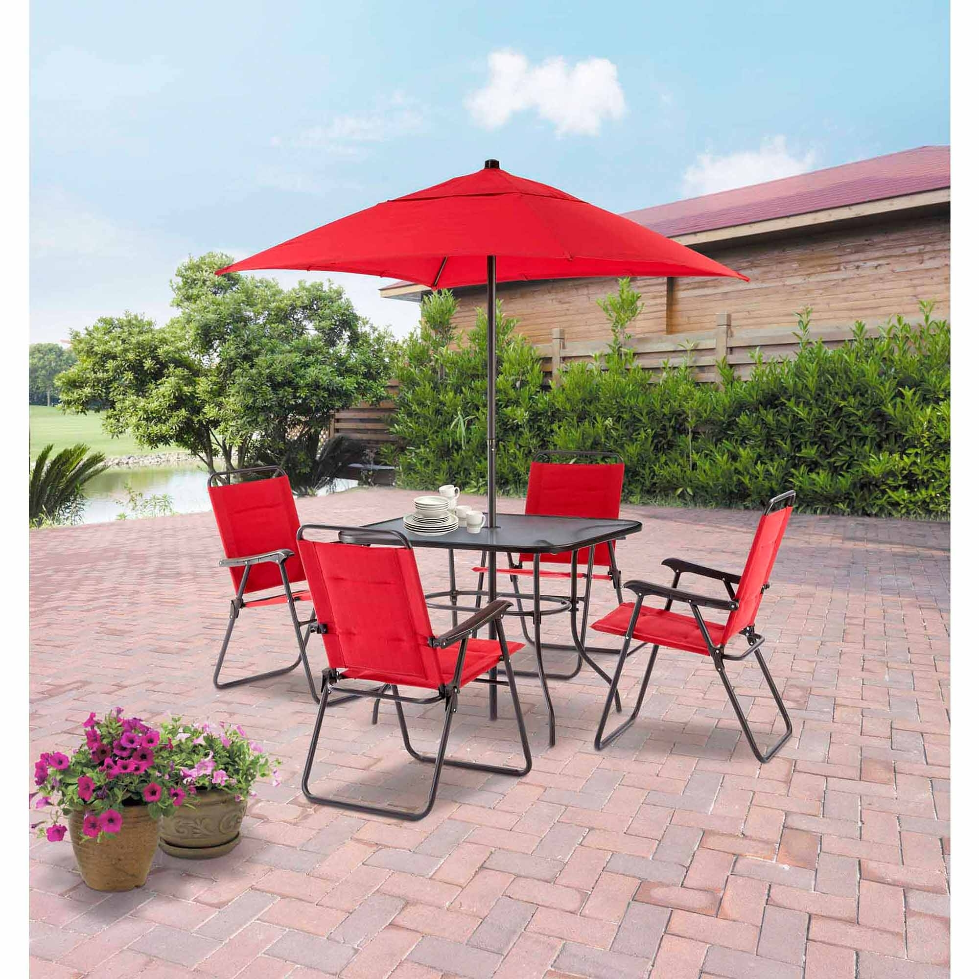 Mainstays Searcy Lane 6 Piece Padded Folding Patio Dining Set, Red For 2018 Walmart Umbrellas Patio (View 3 of 20)