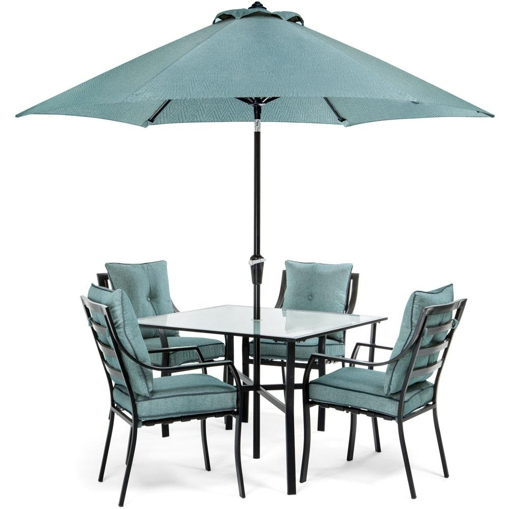 Most Current Blue – Umbrella – Patio Dining Furniture – Patio Furniture – The Within Patio Table Sets With Umbrellas (View 11 of 20)