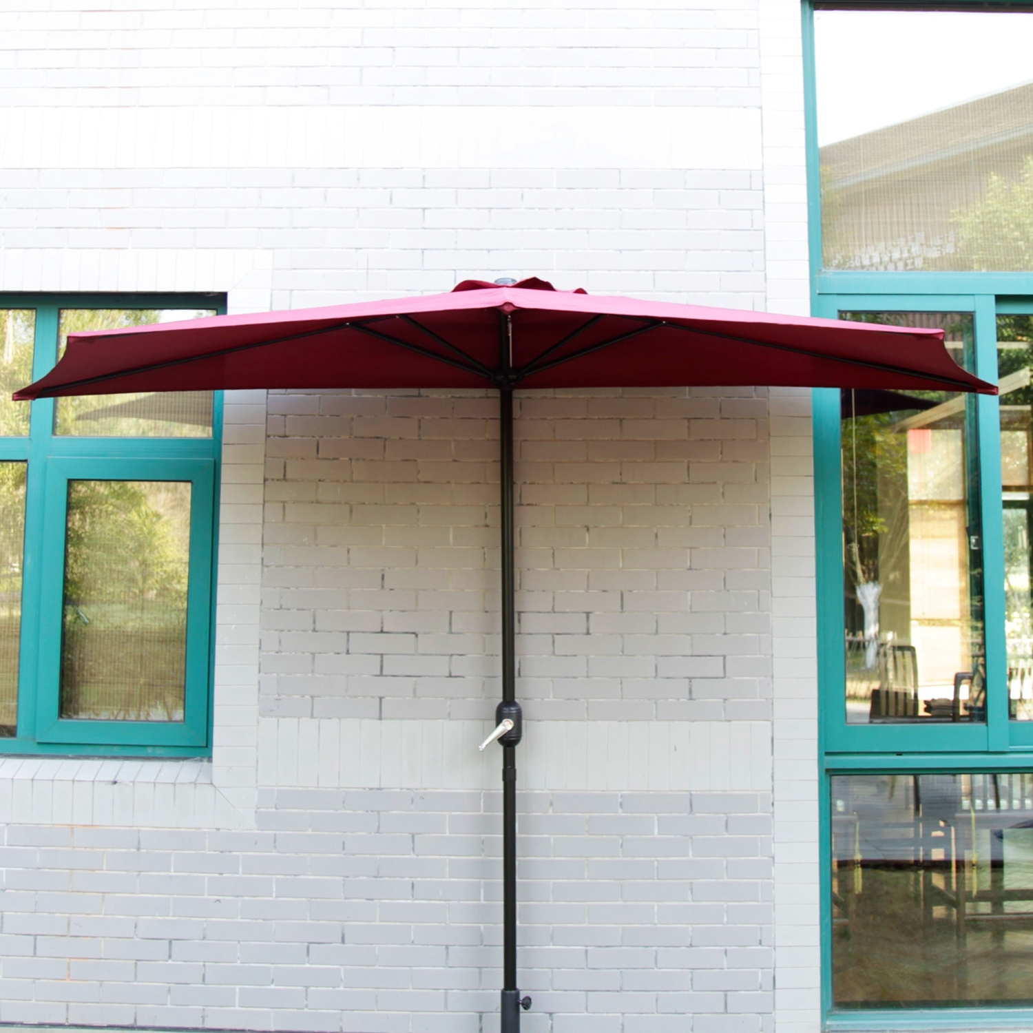 Most Current Half Patio Umbrellas Pertaining To 10' Ft Half Round Outdoor Patio Umbrella Wall Corner Yard Crank (View 13 of 20)