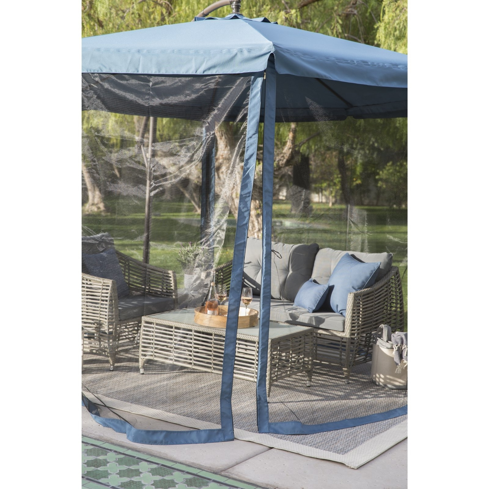 Most Current Patio Umbrellas With Netting Regarding Coral Coast 11 Ft (View 19 of 20)