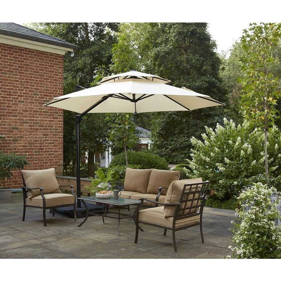 Most Current Shop Garden Treasures Round Tan Offset Umbrella With Crank (Common Pertaining To Lowes Offset Patio Umbrellas (View 14 of 20)