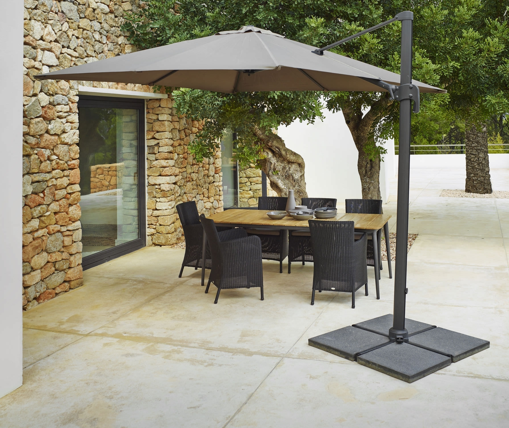 Most Current Stylish Offset Patio Umbrella Base Offset Patio Umbrella Mocha Inside Patio Umbrellas And Bases (View 14 of 20)