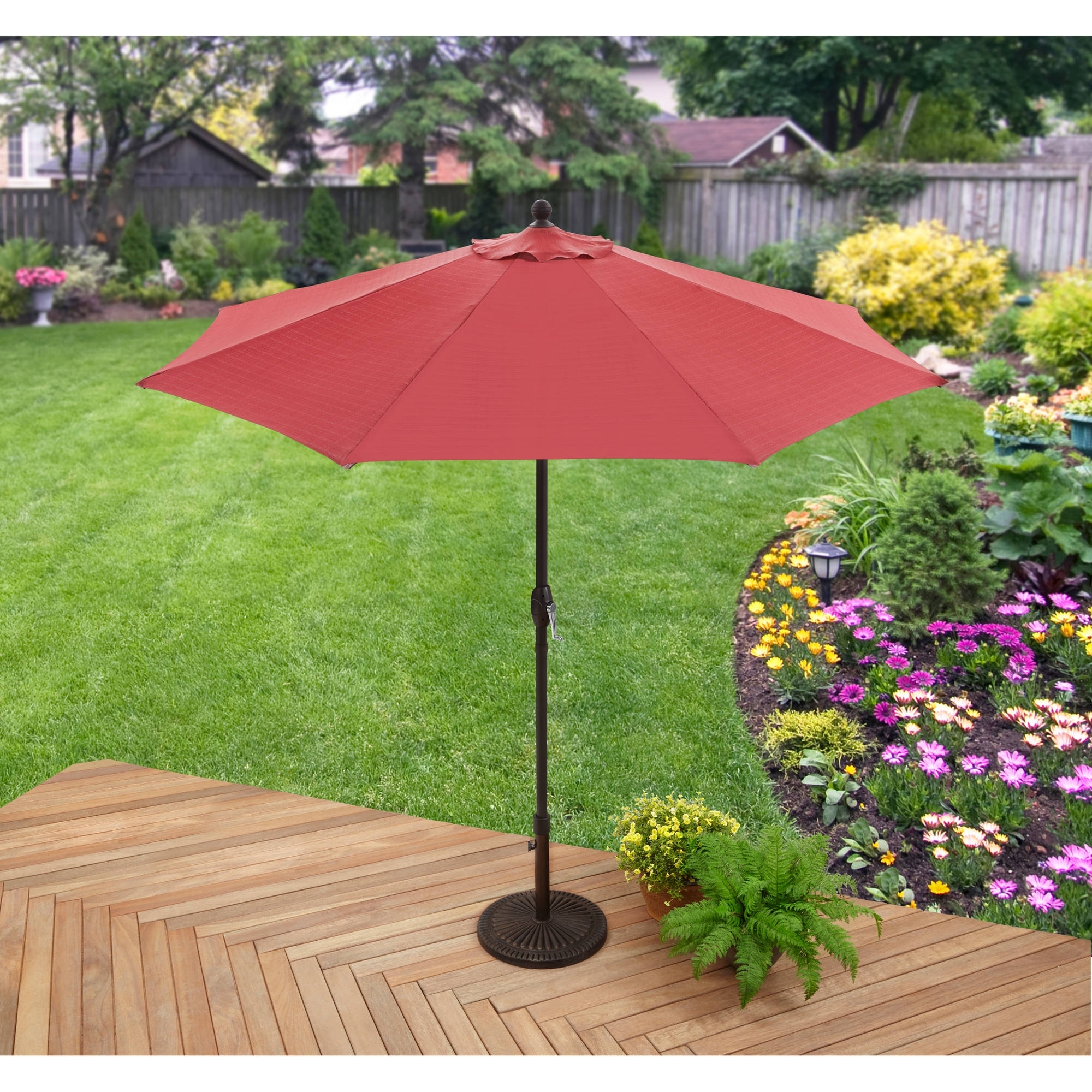 Most Current Walmart Patio Umbrellas For Better Homes And Gardens 9' Market Umbrella, Red – Walmart (View 5 of 20)