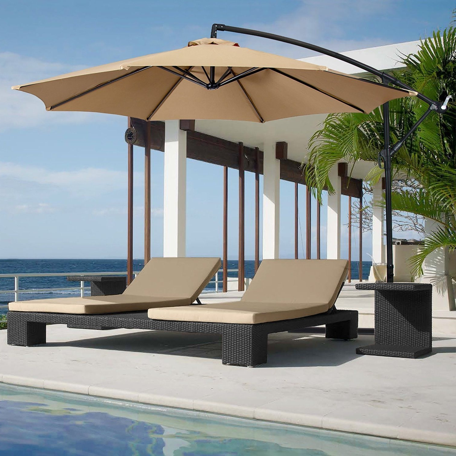 Most Popular Amazon Patio Umbrellas In Amazon : Best Choice Products® Patio Umbrella Offset 10' Hanging (View 14 of 20)