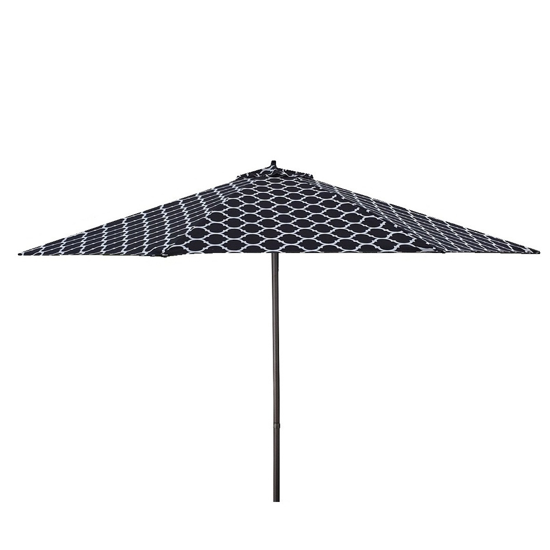 Most Popular Black And White Striped Patio Umbrellas Inside Shop Lauren & Company 9' Black/white Moroccan Pattern Patio Umbrella (View 13 of 20)