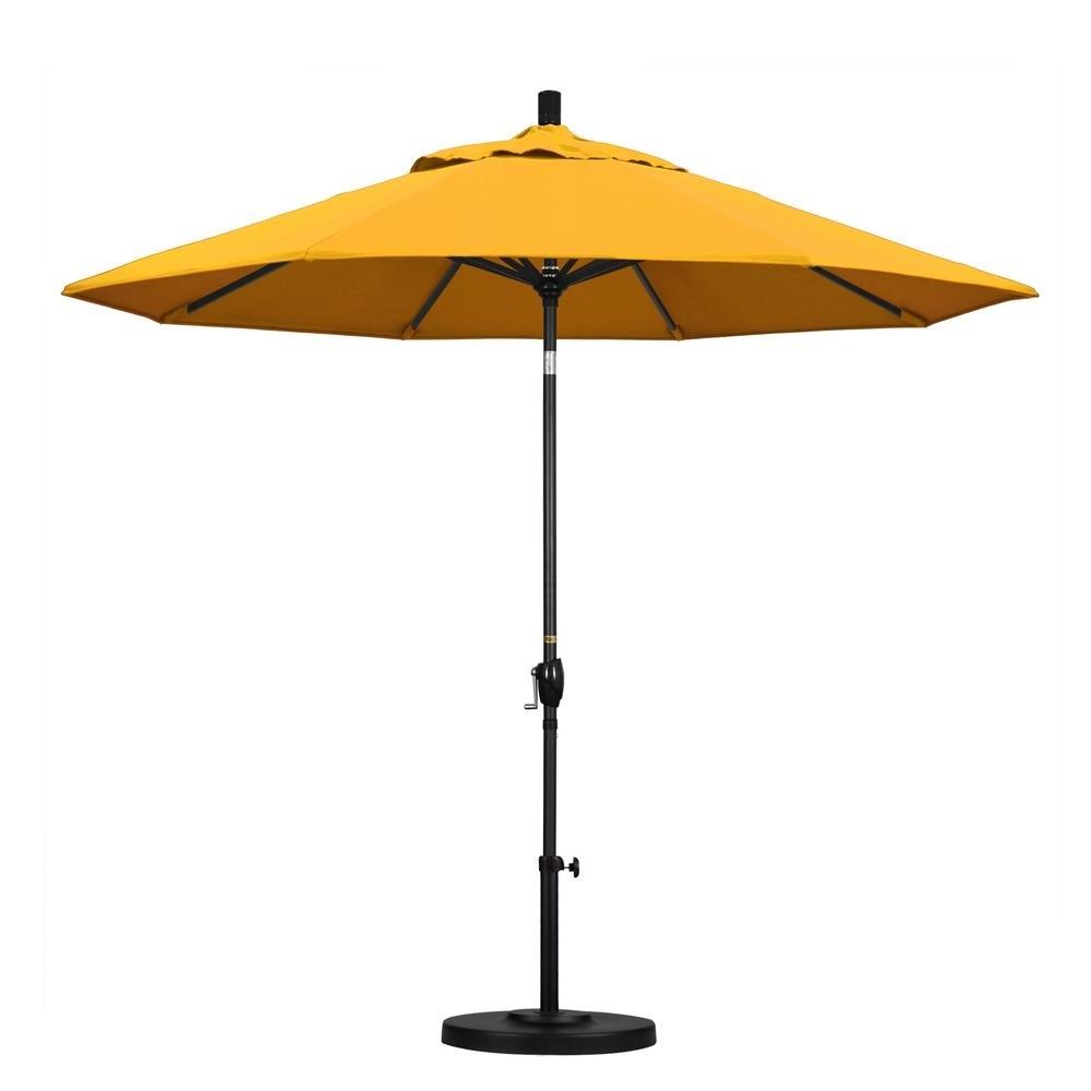 Most Popular California Umbrella 9 Ft. Aluminum Push Tilt Patio Umbrella In Throughout Yellow Sunbrella Patio Umbrellas (Gallery 5 of 20)