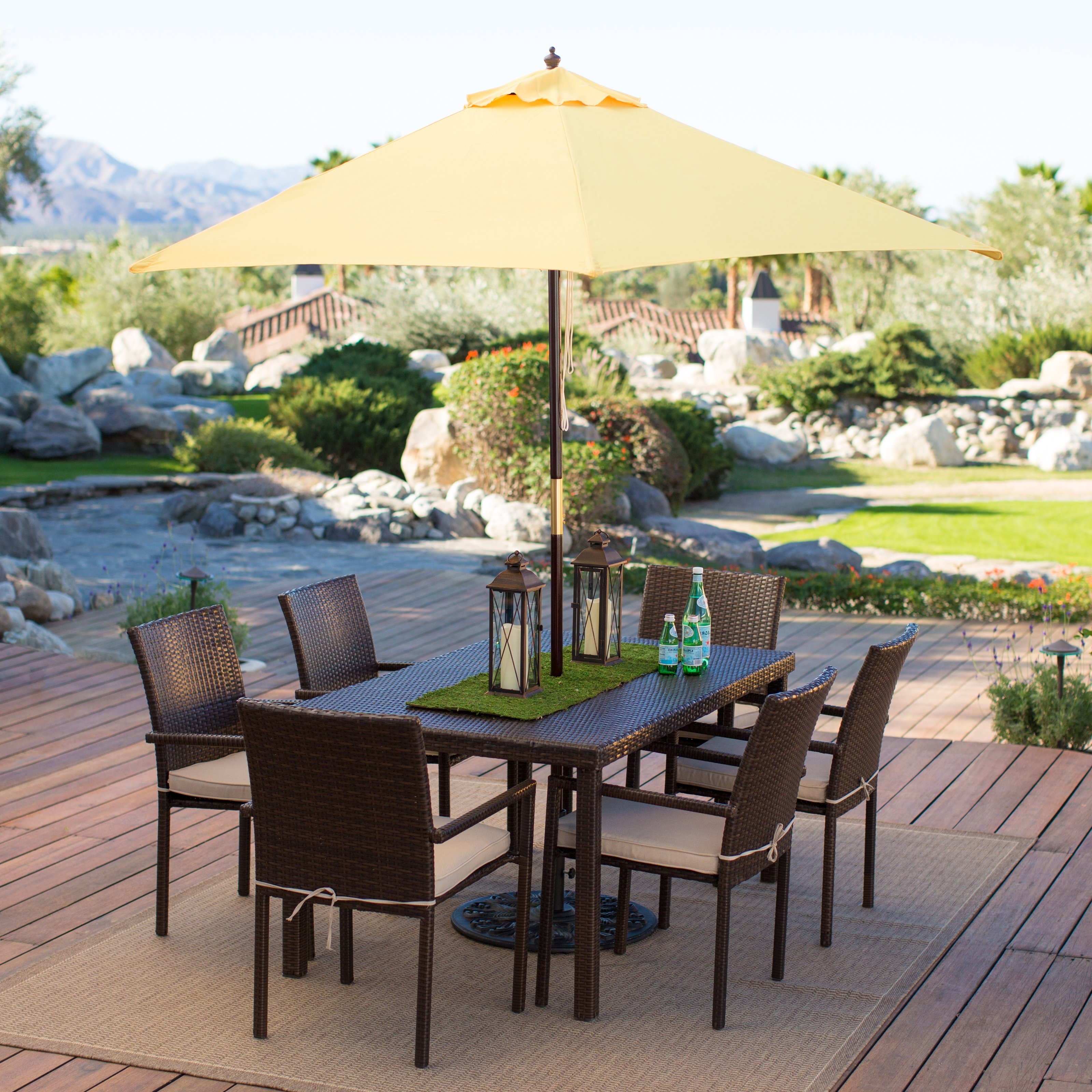 Most Popular Garden: Enchanting Outdoor Patio Decor Ideas With Patio Umbrellas With Rectangular Patio Umbrellas (View 9 of 20)