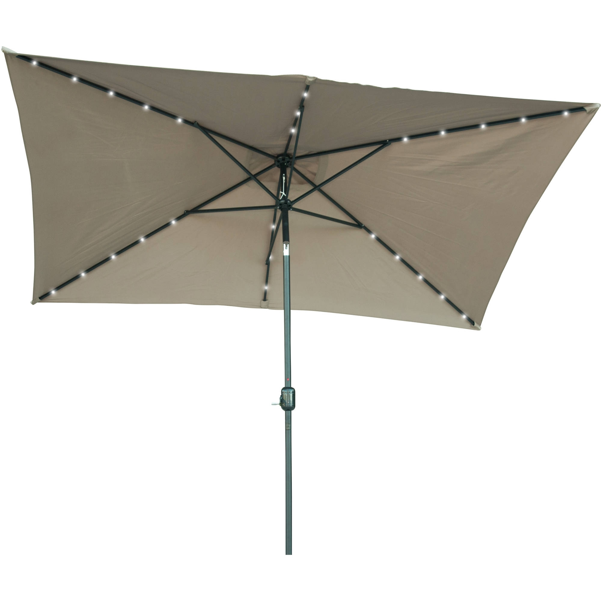 Most Popular Lighted Patio Umbrellas Pertaining To Rectangular Solar Powered Led Lighted Patio Umbrella – 10' X  (View 15 of 20)