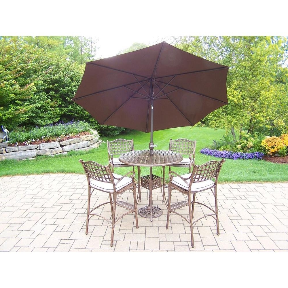 Most Popular Patio Umbrellas For Bar Height Tables With Regard To Oakland Living Elite Cast Aluminum 7 Piece Round Patio Bar Height (View 14 of 20)