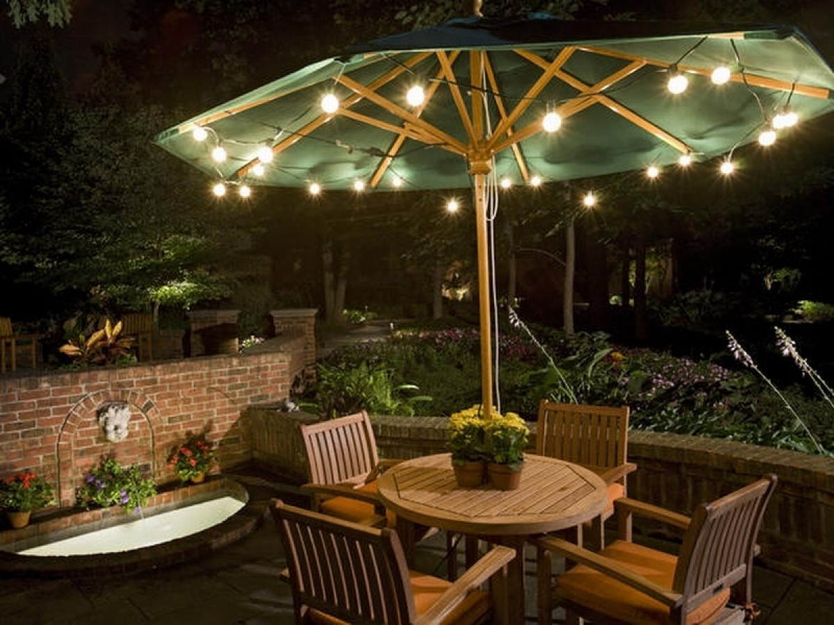 Most Popular Patio Umbrellas With Lights Inside Solar Powered Patio Umbrella Lights — Mistikcamping Home Design (View 8 of 20)