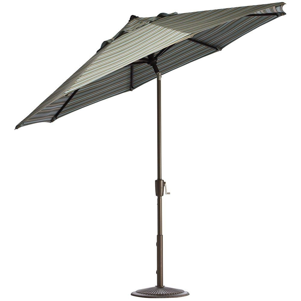 Most Popular Striped Sunbrella Patio Umbrellas Throughout Home Decorators Collection 7.5 Ft (View 2 of 20)