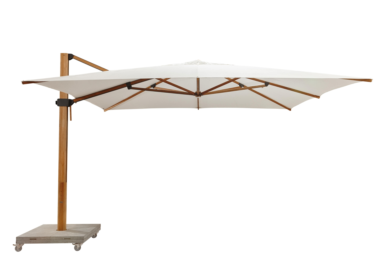 Most Popular Sunbrella Teak Umbrellas With Regard To Bjorn Modern Teak Cantilever Umbrella 360 Rotation Plantation Ocean (View 18 of 20)