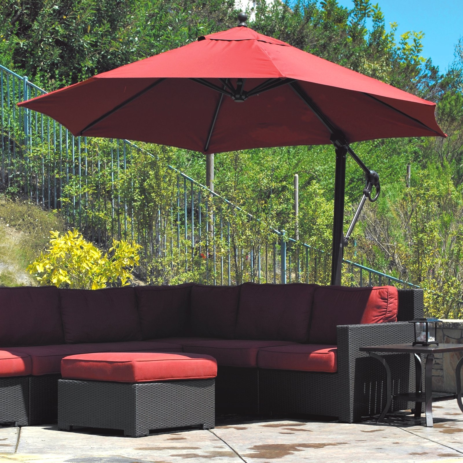 Most Recent Galtech Sunbrella Easy Tilt 11 Ft. Offset Umbrella With Wheeled Base With Regard To 11 Ft (View 16 of 20)