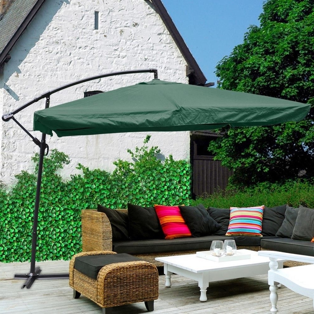 Most Recent Hanging Offset Patio Umbrellas Intended For 9X9Ft Hanging Offset Aluminum Umbrella Patio Outdoor Sun Shade (View 13 of 20)