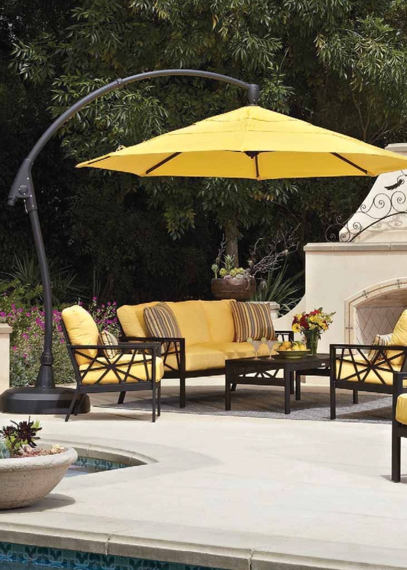 Most Recent Home Decor: Cool Outdoor Cantilever Umbrella Combine With Patio In Yellow Sunbrella Patio Umbrellas (Gallery 9 of 20)