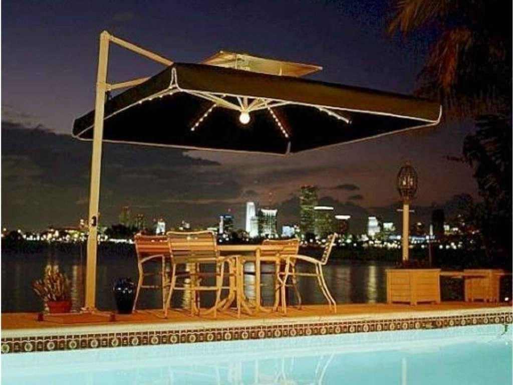 Most Recent Lighted Umbrellas For Patio Pertaining To Trademark With Lighted Patio Umbrella — Cdbossington Interior Design (View 11 of 20)