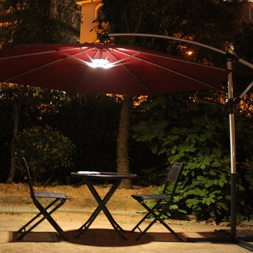 Most Recent Lighted Umbrellas For Patio Within Outdoor Patio Umbrella Light Review – Youtube (View 3 of 20)
