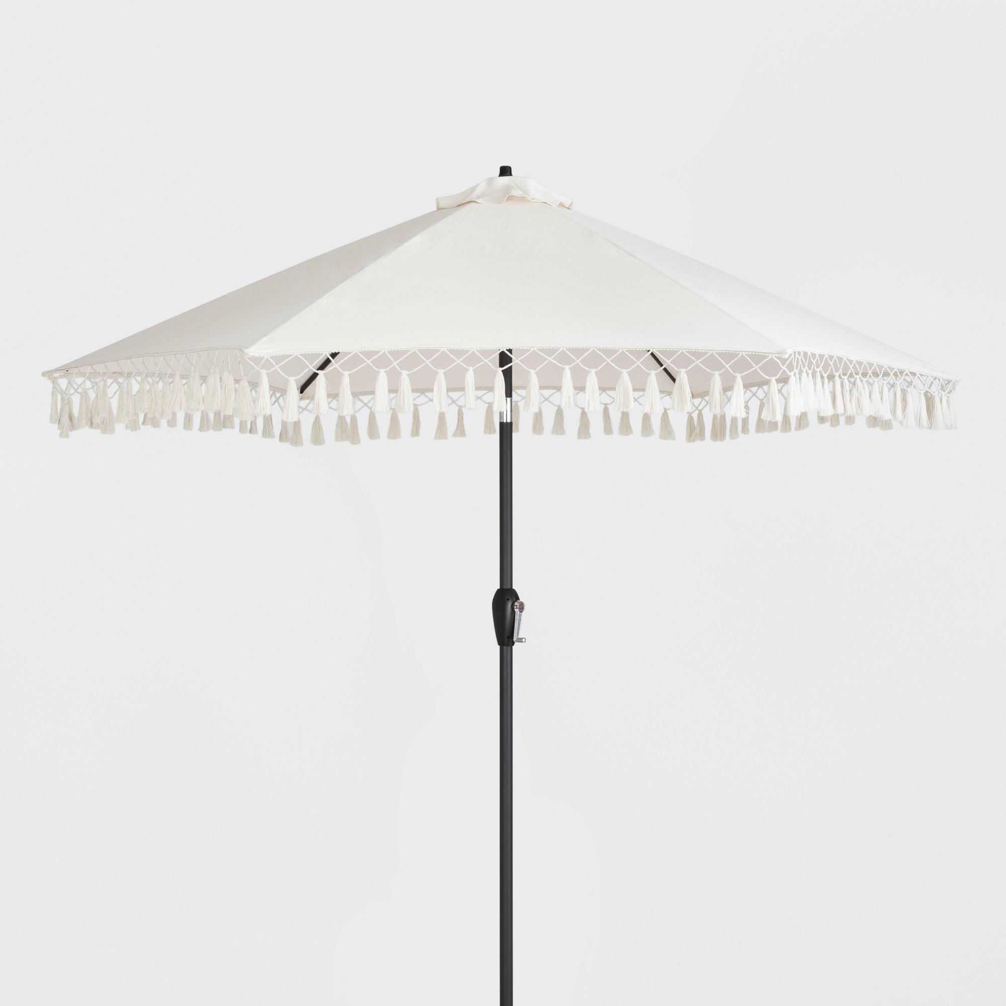Most Recent Patio Umbrellas With Fringe Throughout 9' Patio Umbrella With Fringe – Beige – Opalhouse (View 9 of 20)