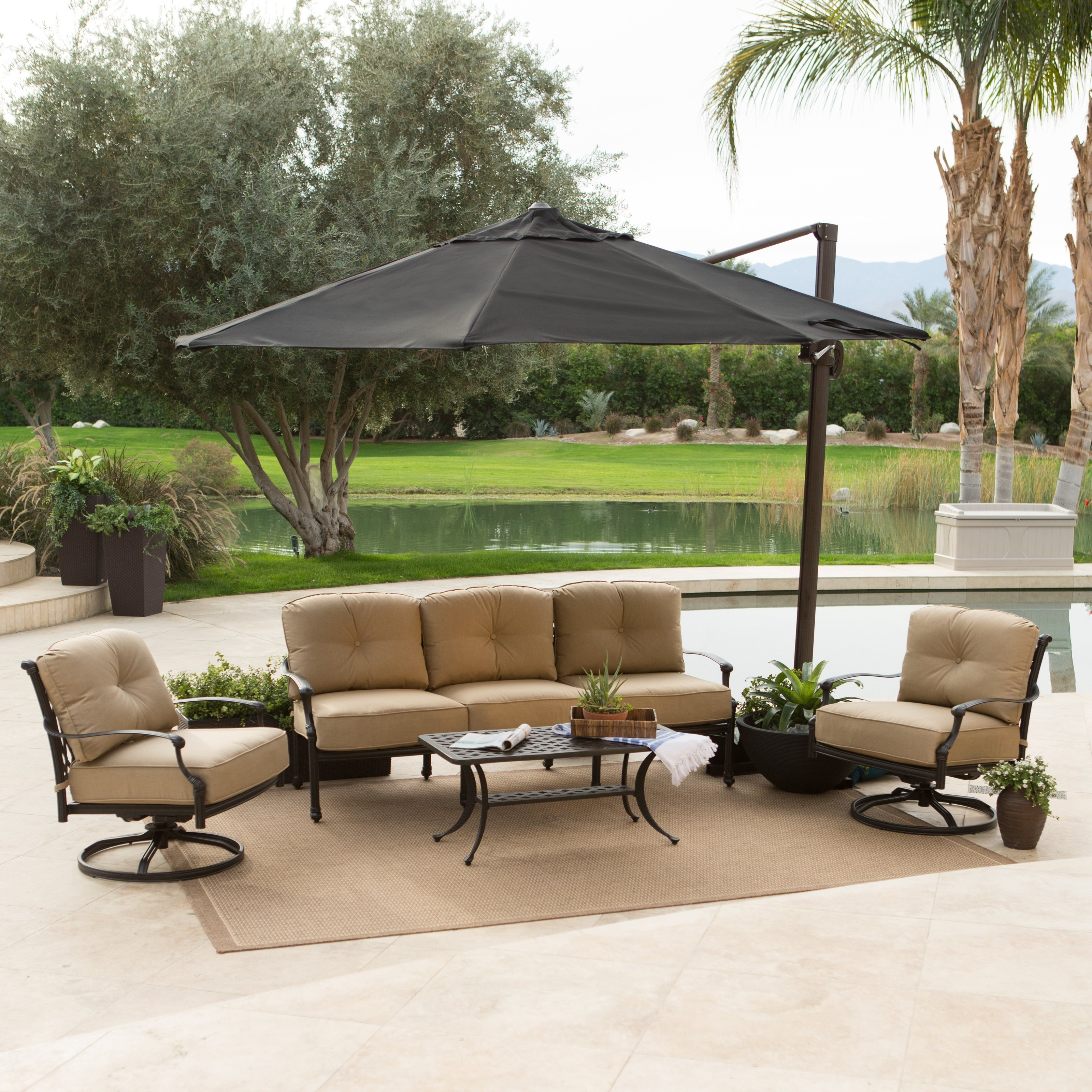 Most Recent Rectangular Offset Patio Umbrellas Within Cheerful Outdoor Patio Design With Chairs And Table Sets Protected (View 7 of 20)