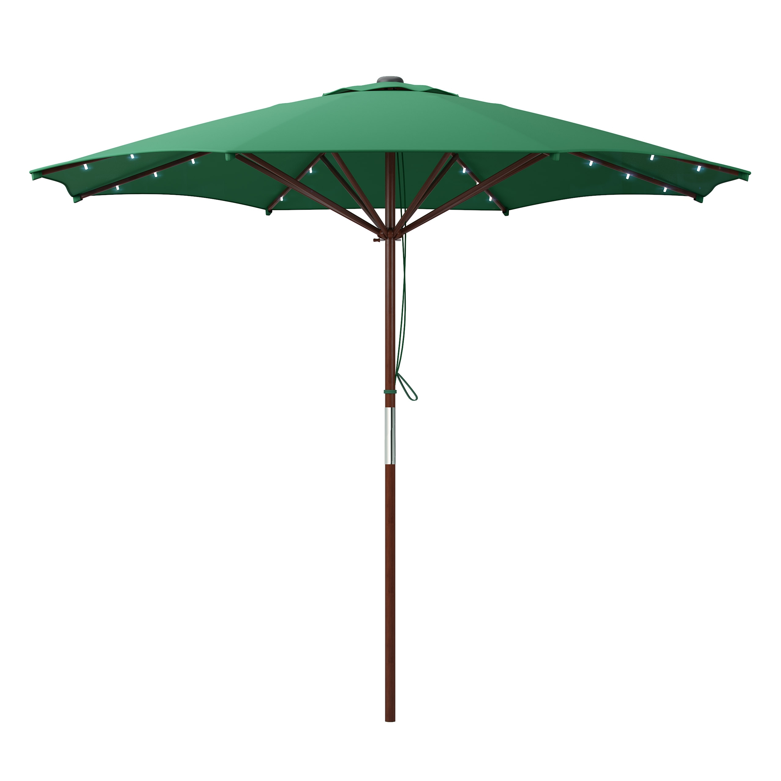 Most Recent Solar Powered Patio Umbrellas Throughout Green Patio Umbrella With Solar Power Led Lights (View 6 of 20)