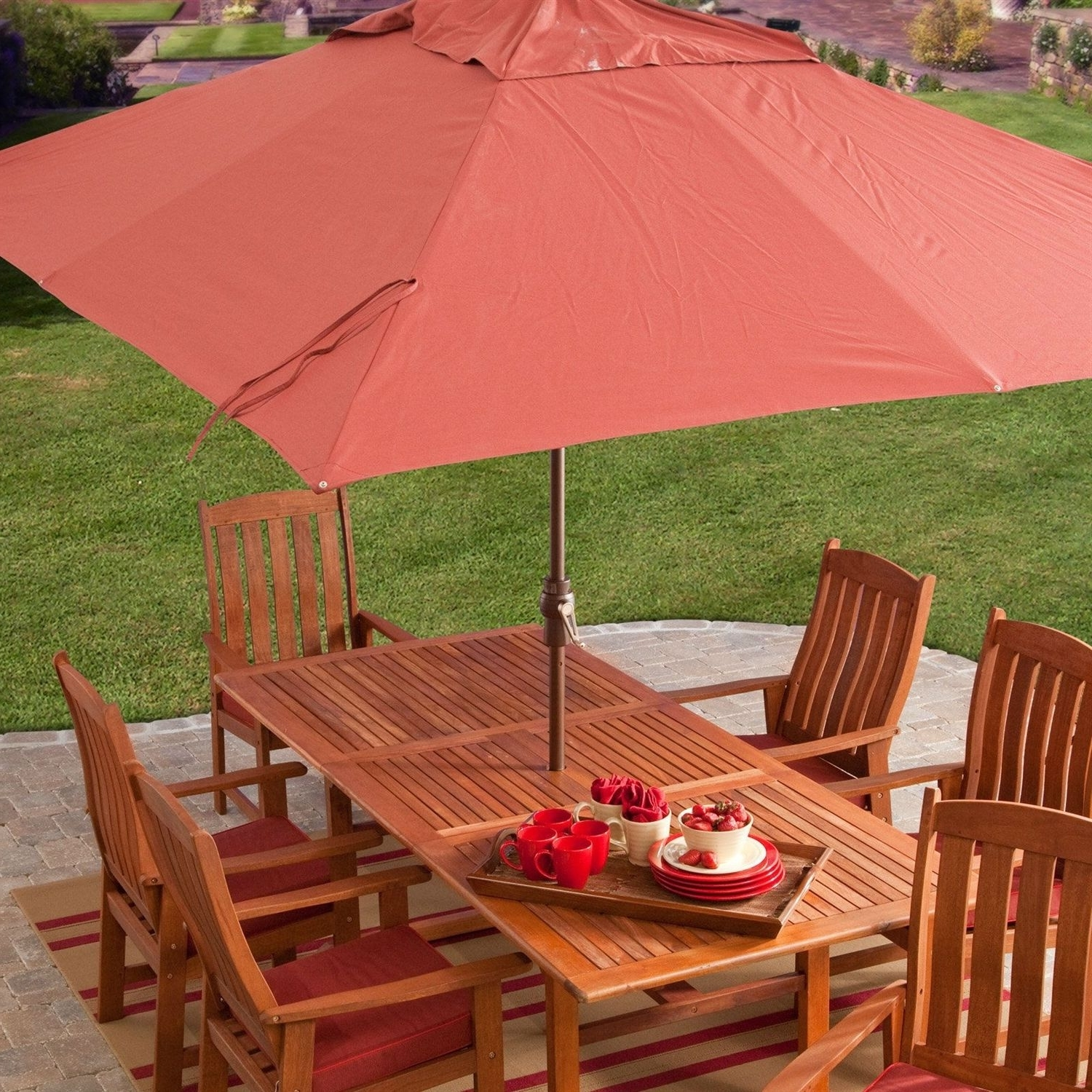 Most Recently Released 8 X 11 Ft Rectangle Patio Umbrella With Red Orange Terracotta Canopy Pertaining To Rectangular Patio Umbrellas (View 10 of 20)