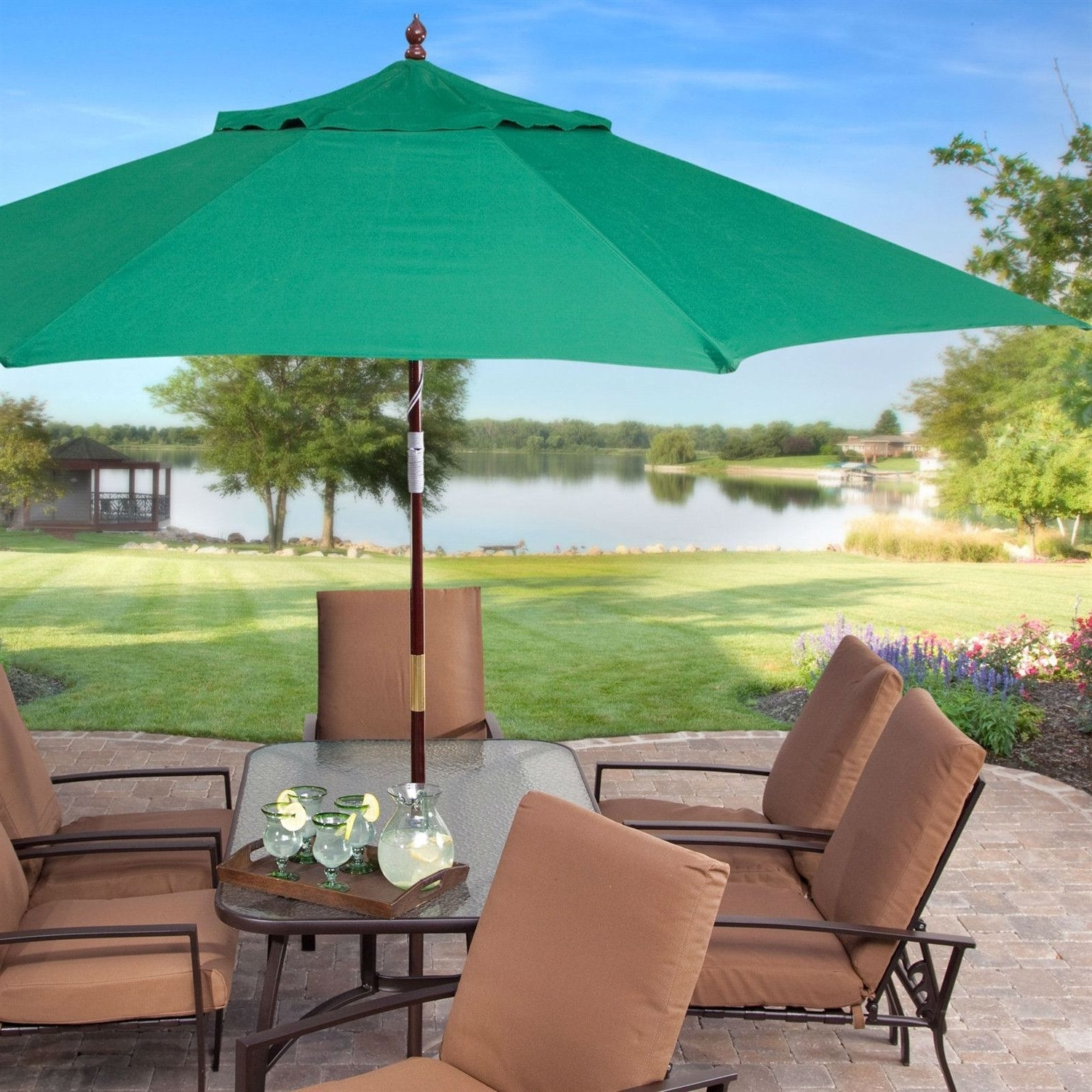 Most Recently Released Commercial Patio Umbrellas In 11 Ft Wood Patio Umbrella With Green Canopy – Commercial Grade (View 17 of 20)