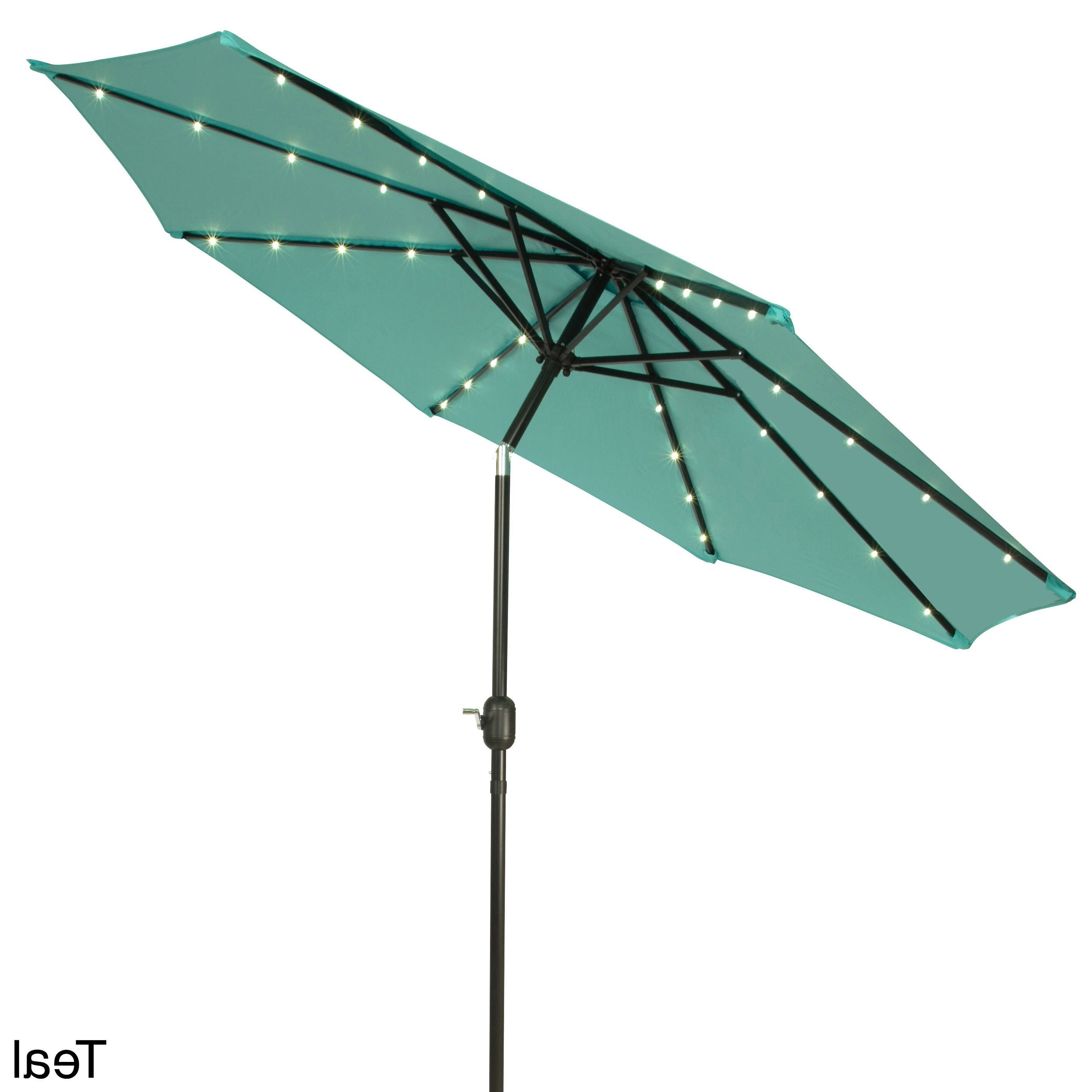 Most Recently Released Lighted Patio Umbrellas With Trademark Innovations Deluxe 9 Foot Solar Powered Led Lighted Patio (View 16 of 20)