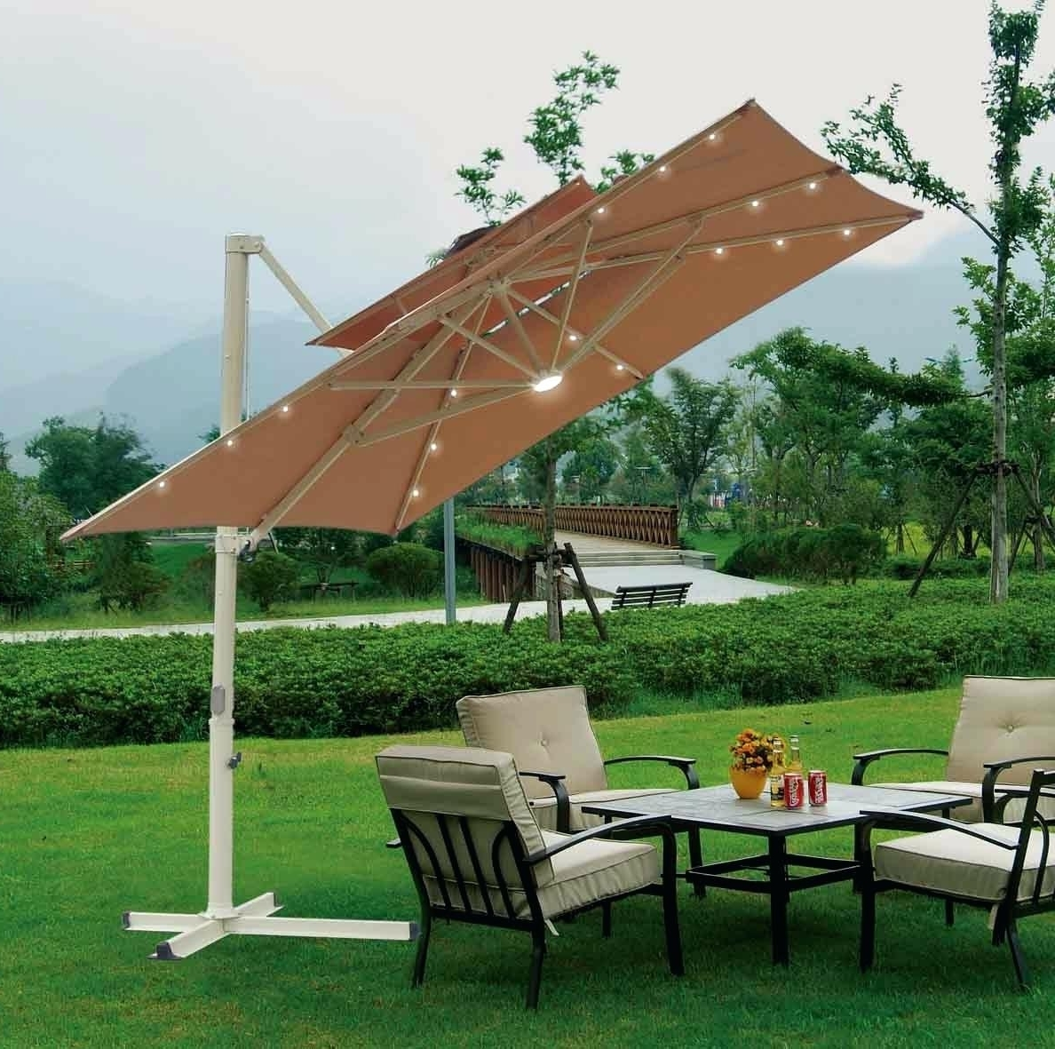 Most Recently Released Patio Umbrella Solar Lights Home Depot 10 Foot Wide Rectangular Within Offset Rectangular Patio Umbrellas (View 10 of 20)