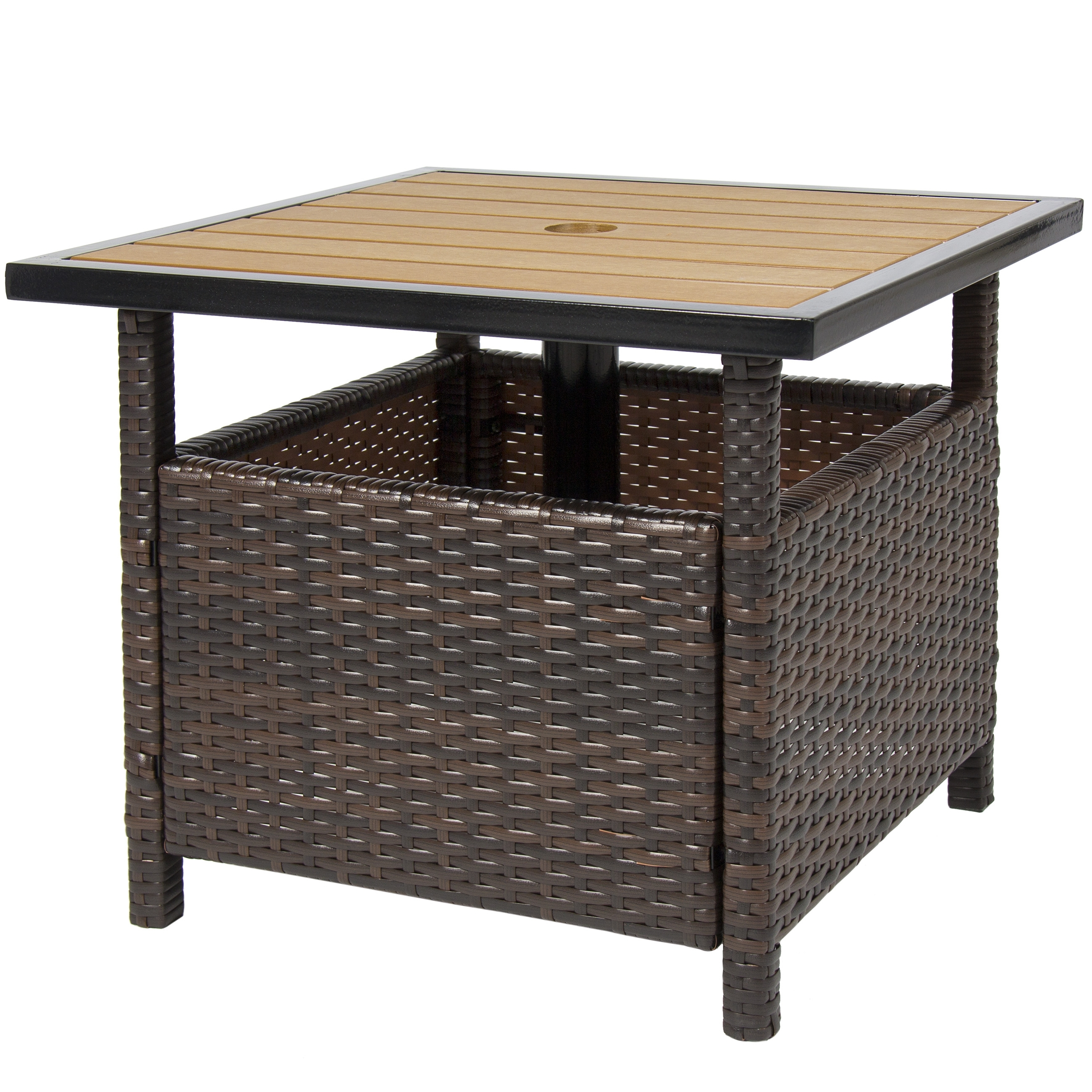 Most Recently Released Patio Umbrella Stand Side Tables Inside Best Choice Products Outdoor Furniture Wicker Rattan Patio Umbrella (View 9 of 20)
