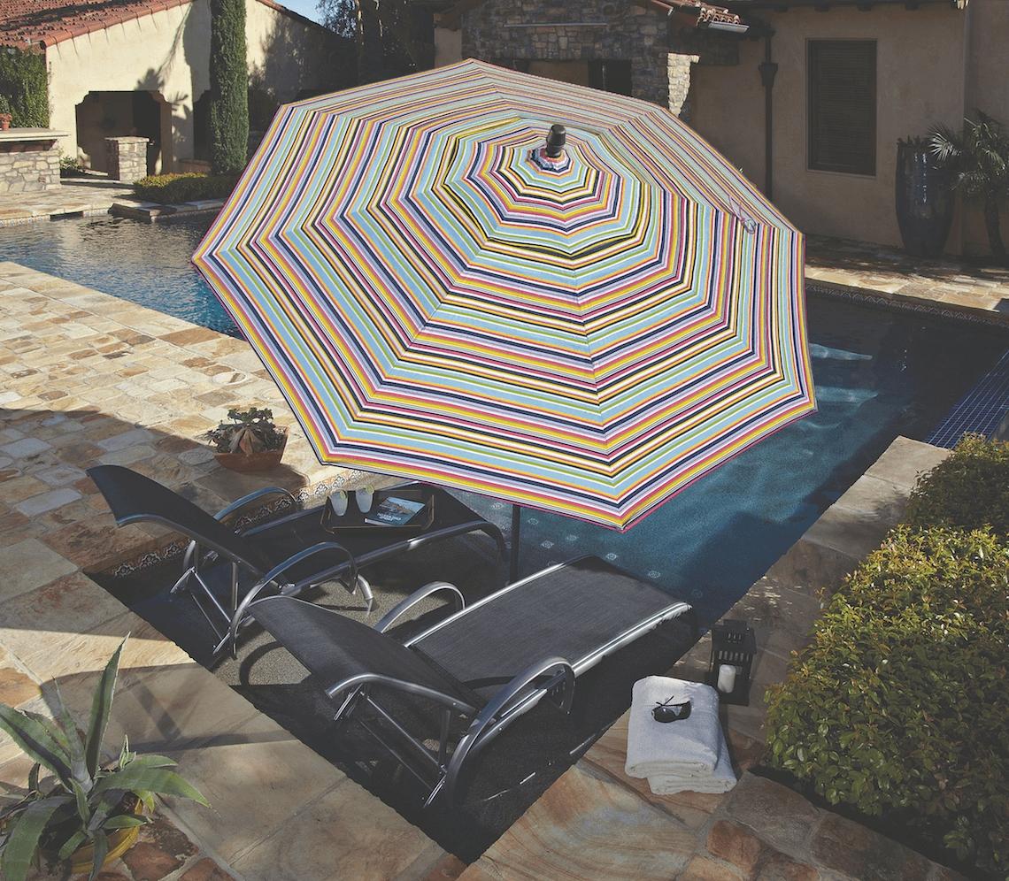 Most Recently Released Patterned Patio Umbrellas Regarding Made In The Shade: Patio Umbrellastreasure Garden – Kdrshowrooms (View 4 of 20)