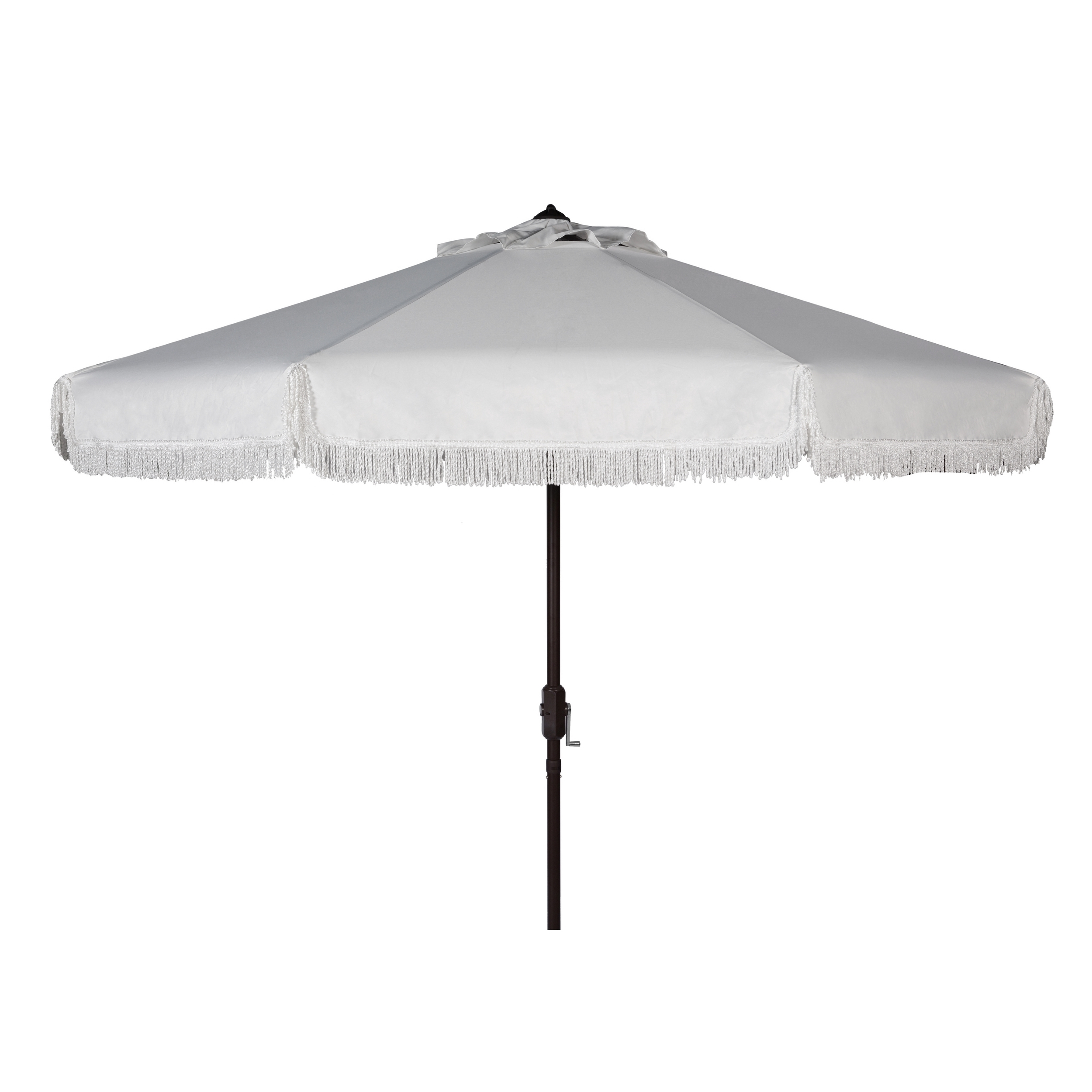 Most Recently Released Shop Safavieh Milan Fringe 9 Ft Crank White Outdoor Umbrella – Free Intended For Patio Umbrellas With Fringe (View 11 of 20)