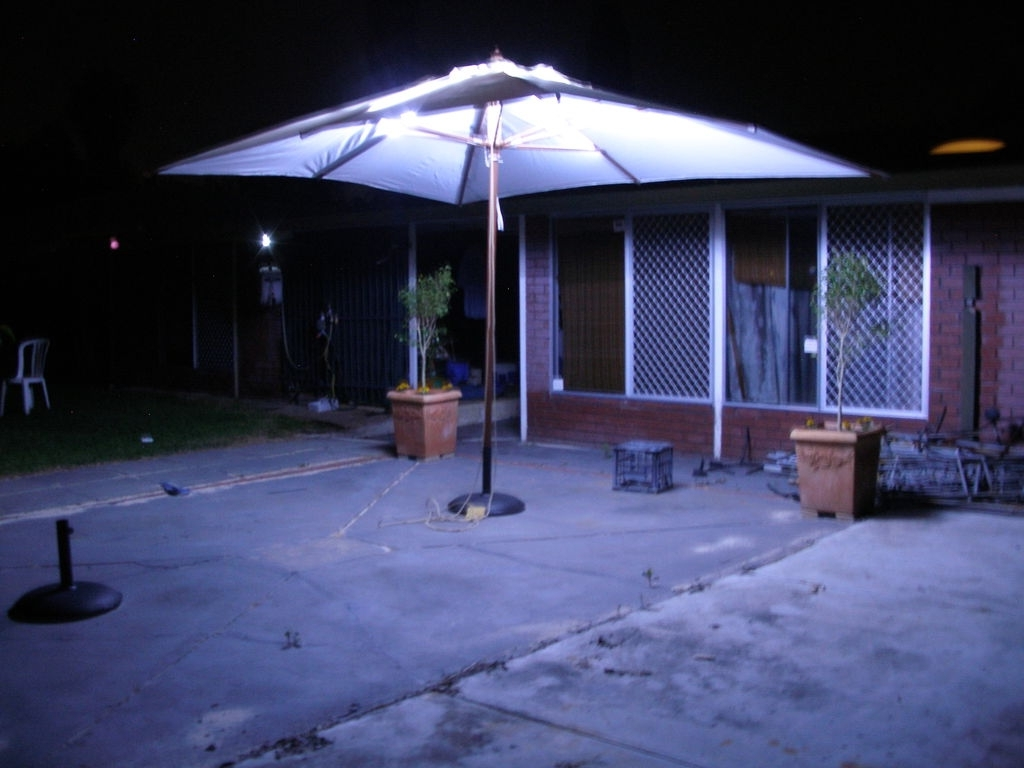 Most Up To Date Led Patio Umbrellas Regarding Led Outdoor Umbrella Lighting: 4 Steps (with Pictures) (View 12 of 20)