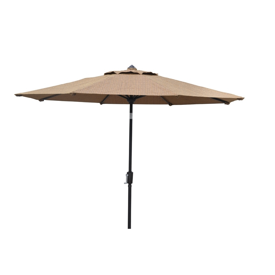 Most Up To Date Lowes Patio Umbrellas Inside Shop Allen + Roth Round Tan Patio Umbrella With Tilt And Crank (View 12 of 20)